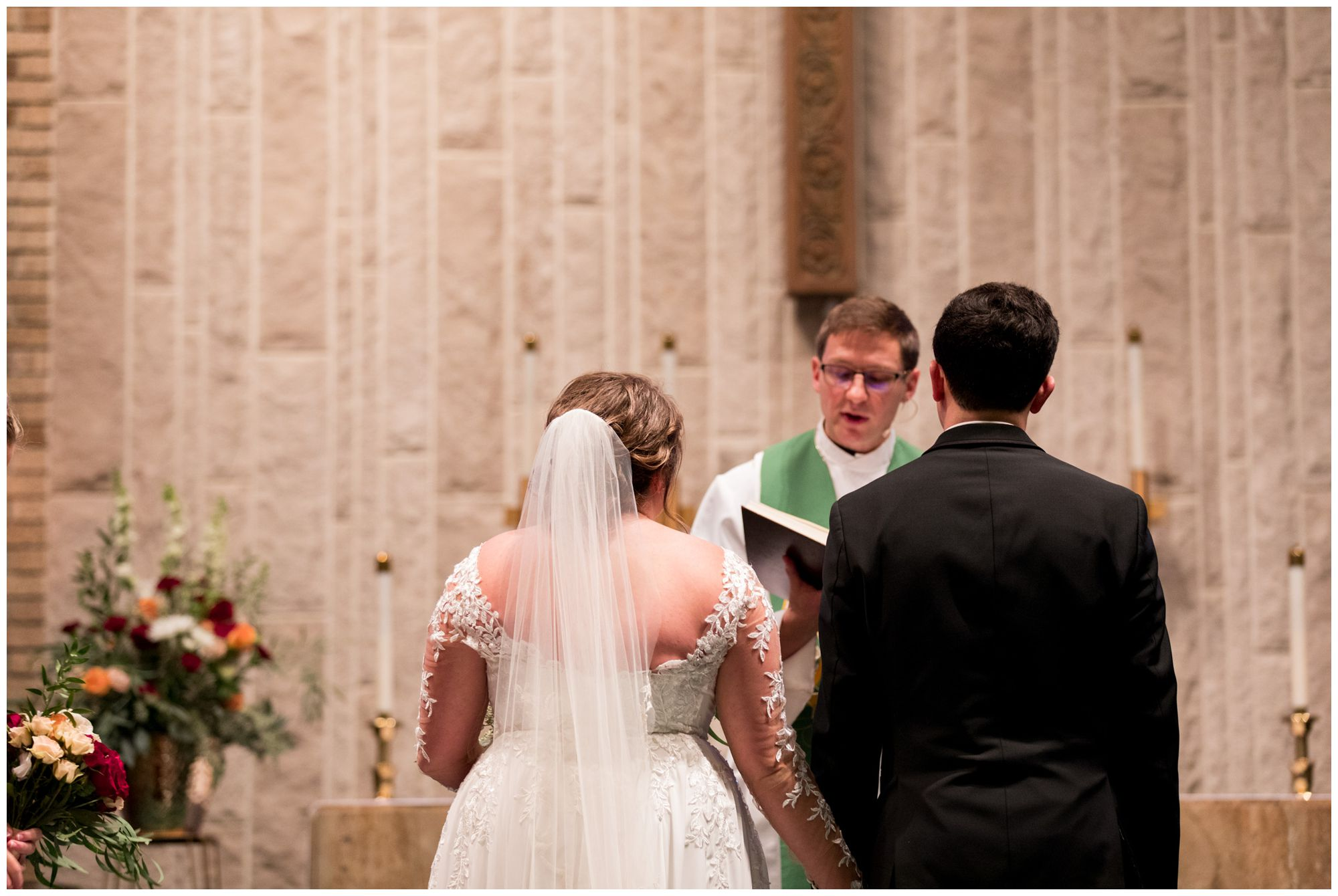 bride and groom during wedding ceremony at Zion Lutheran Church in Decatur, Indiana
