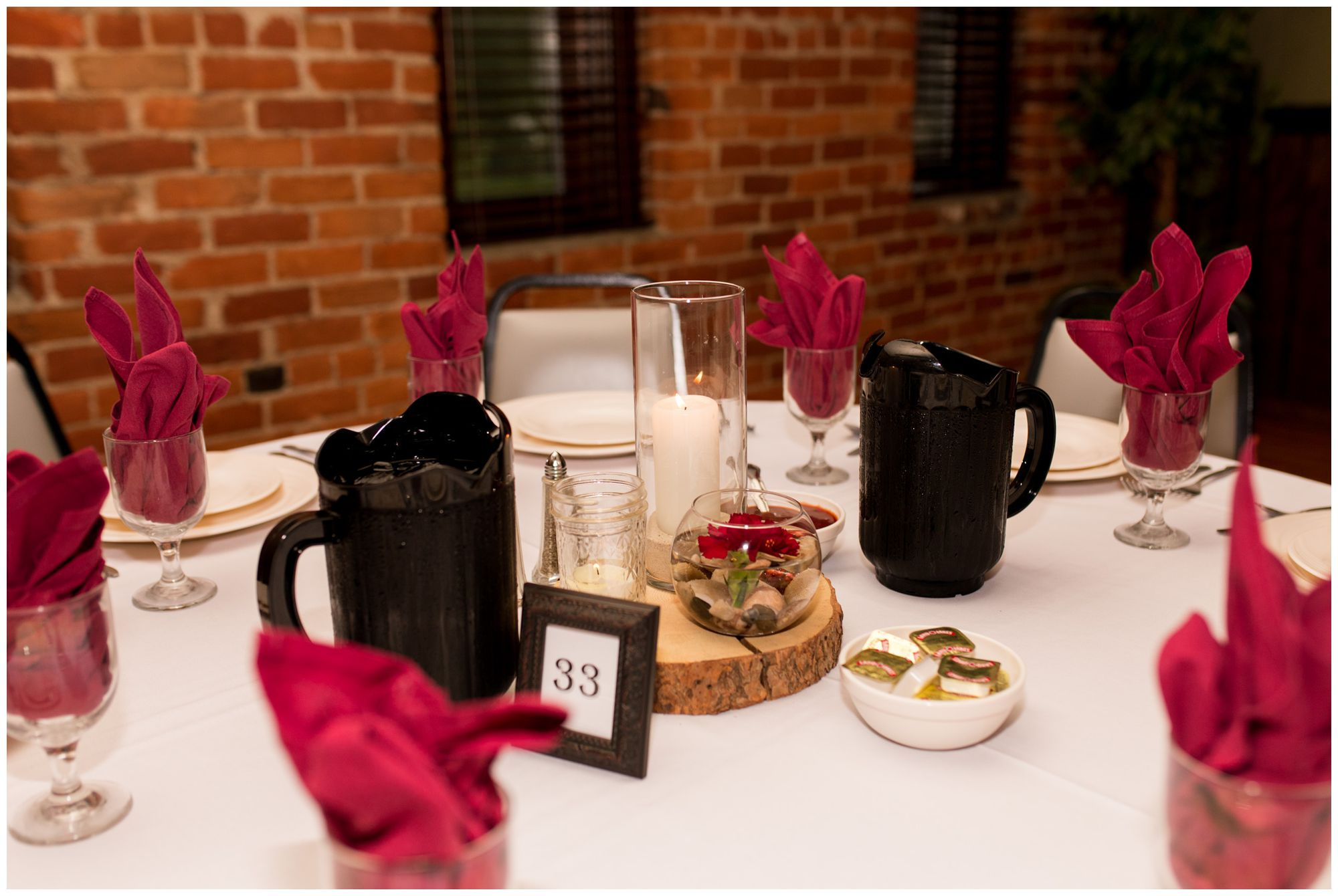 Goeglein Homestead wedding reception table decor