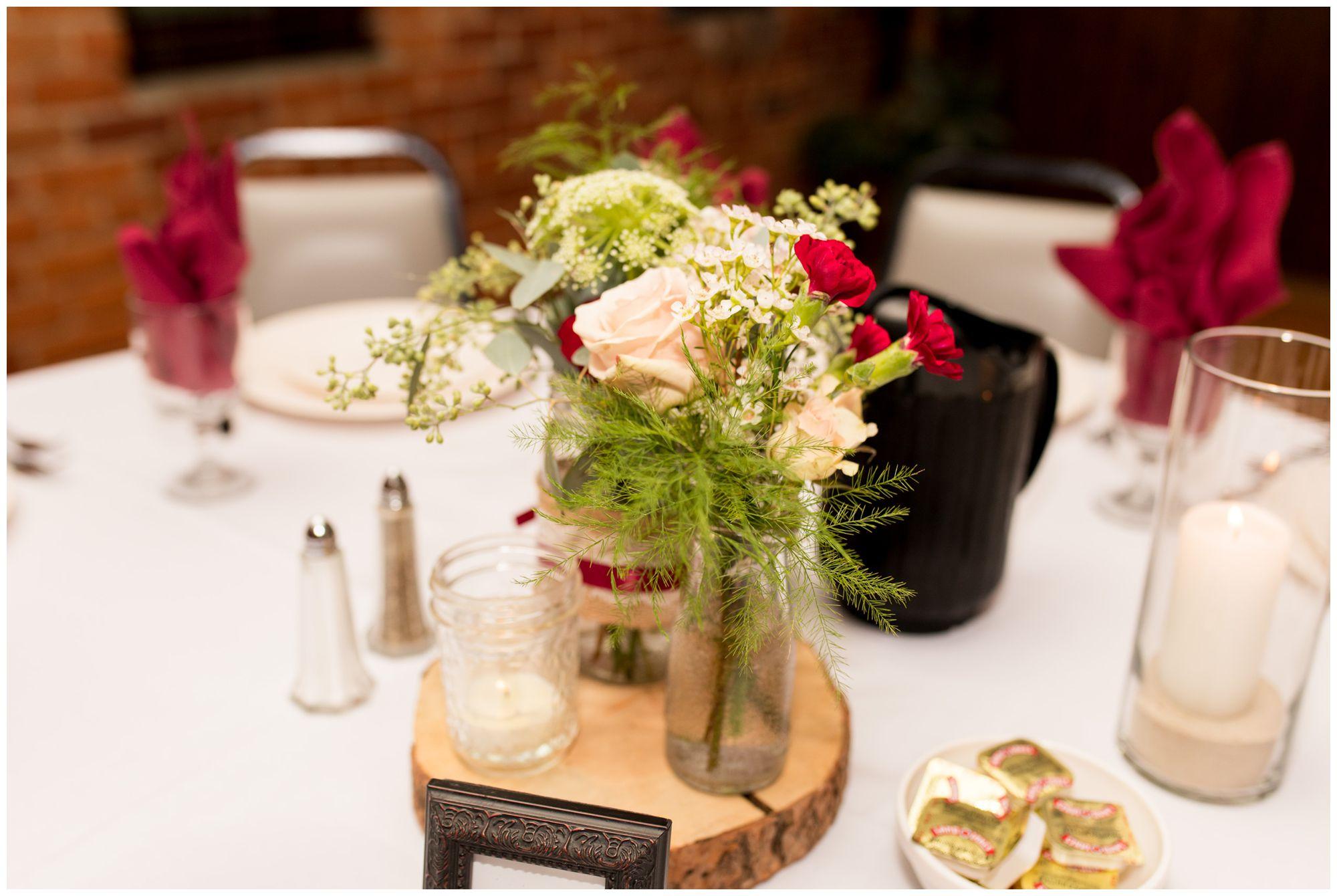 wedding reception table decor at Goeglein Homestead in Fort Wayne