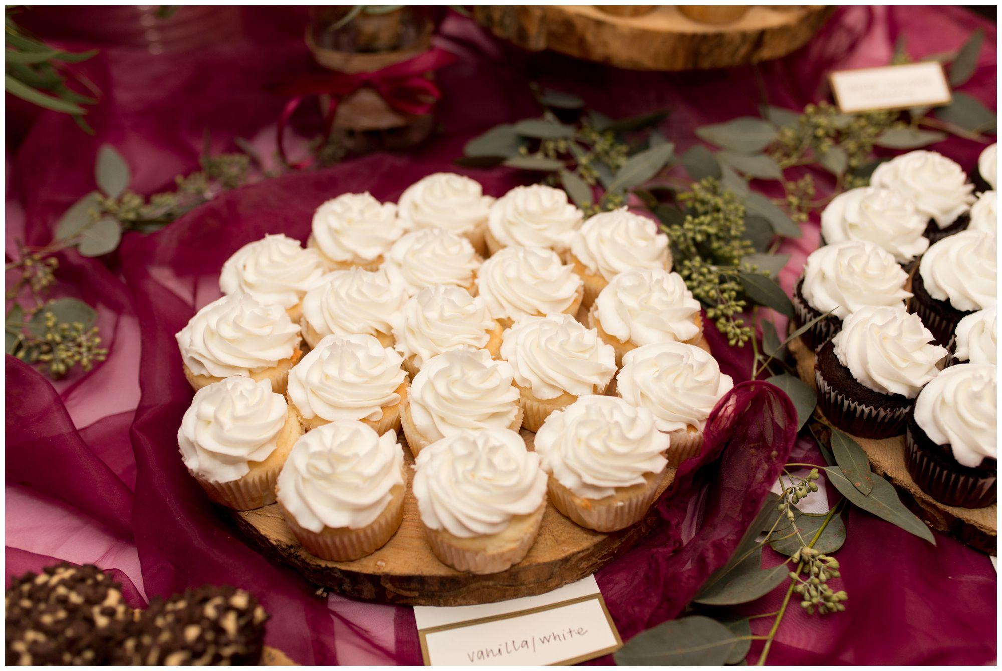 cupcake dessert at Goeglein Homestead wedding reception