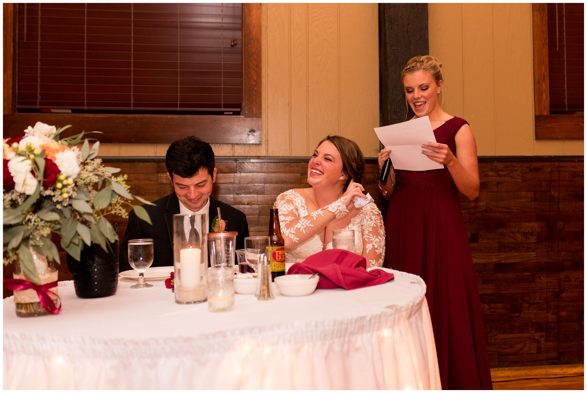 maid of honor gives toast during Goeglein Homestead reception