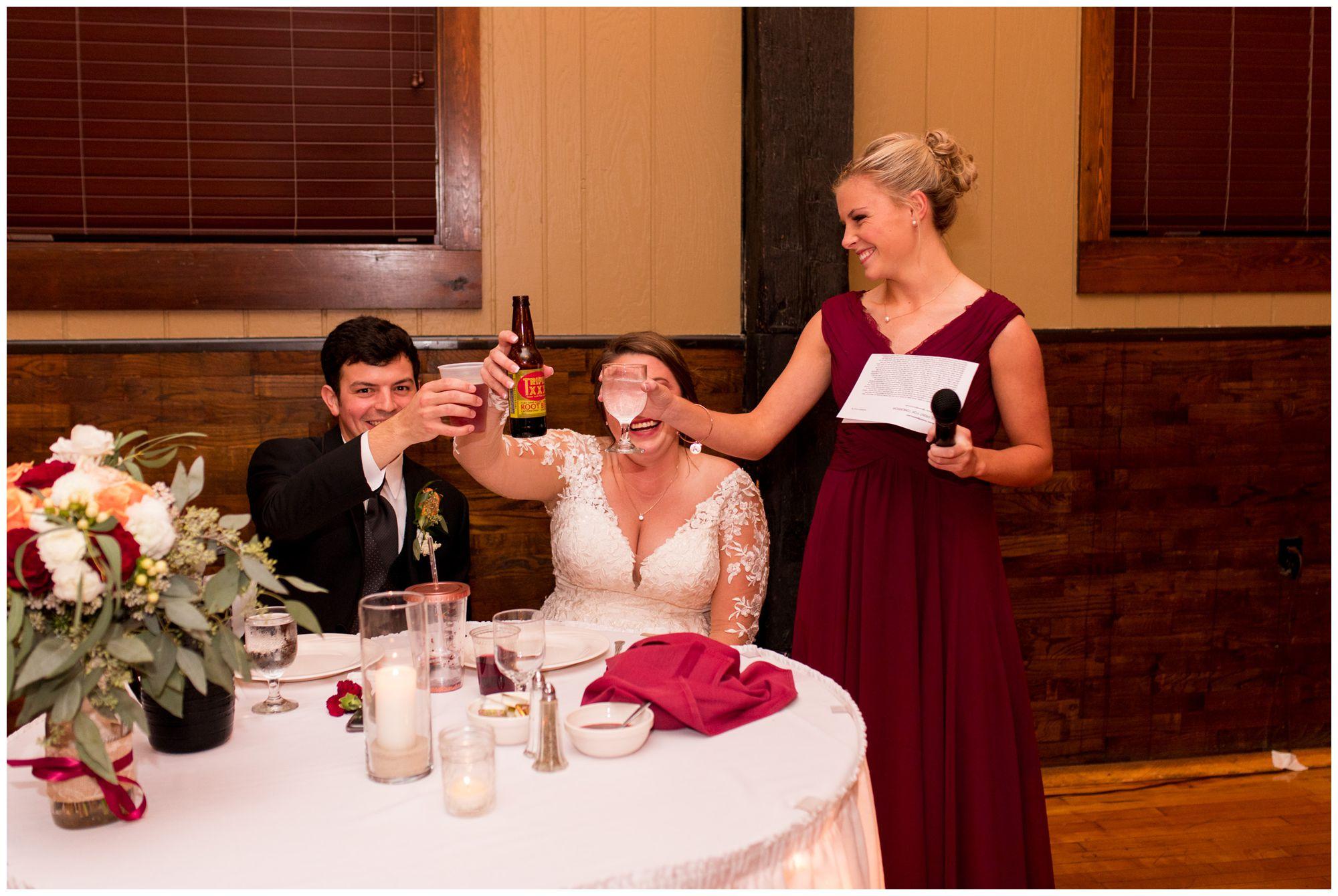 maid of honor toast at Goeglein Homestead