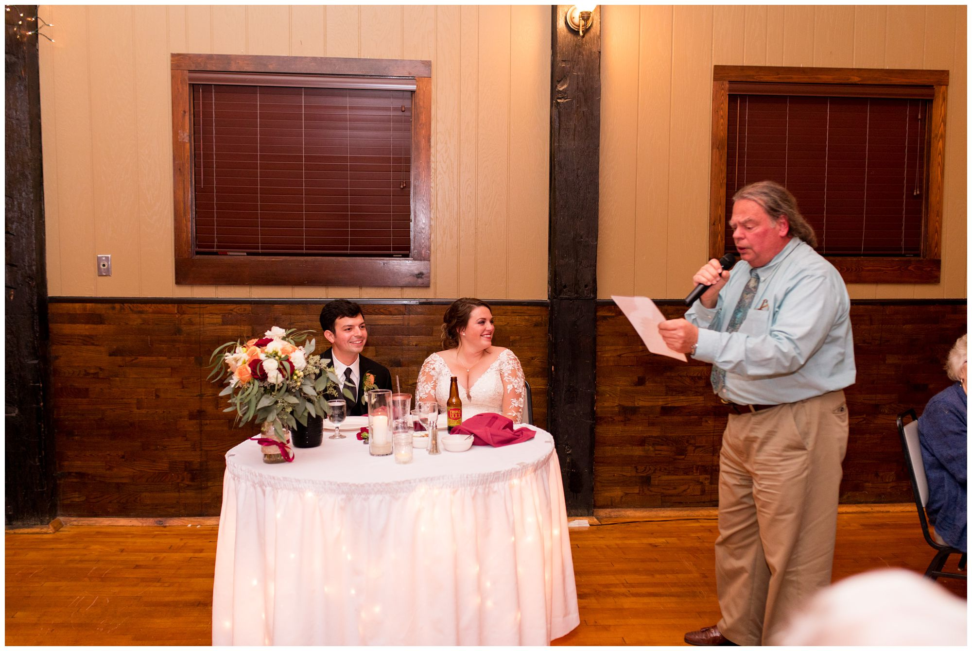 uncle sings original song to the couple during Fort Wayne wedding at Goeglein Homestead