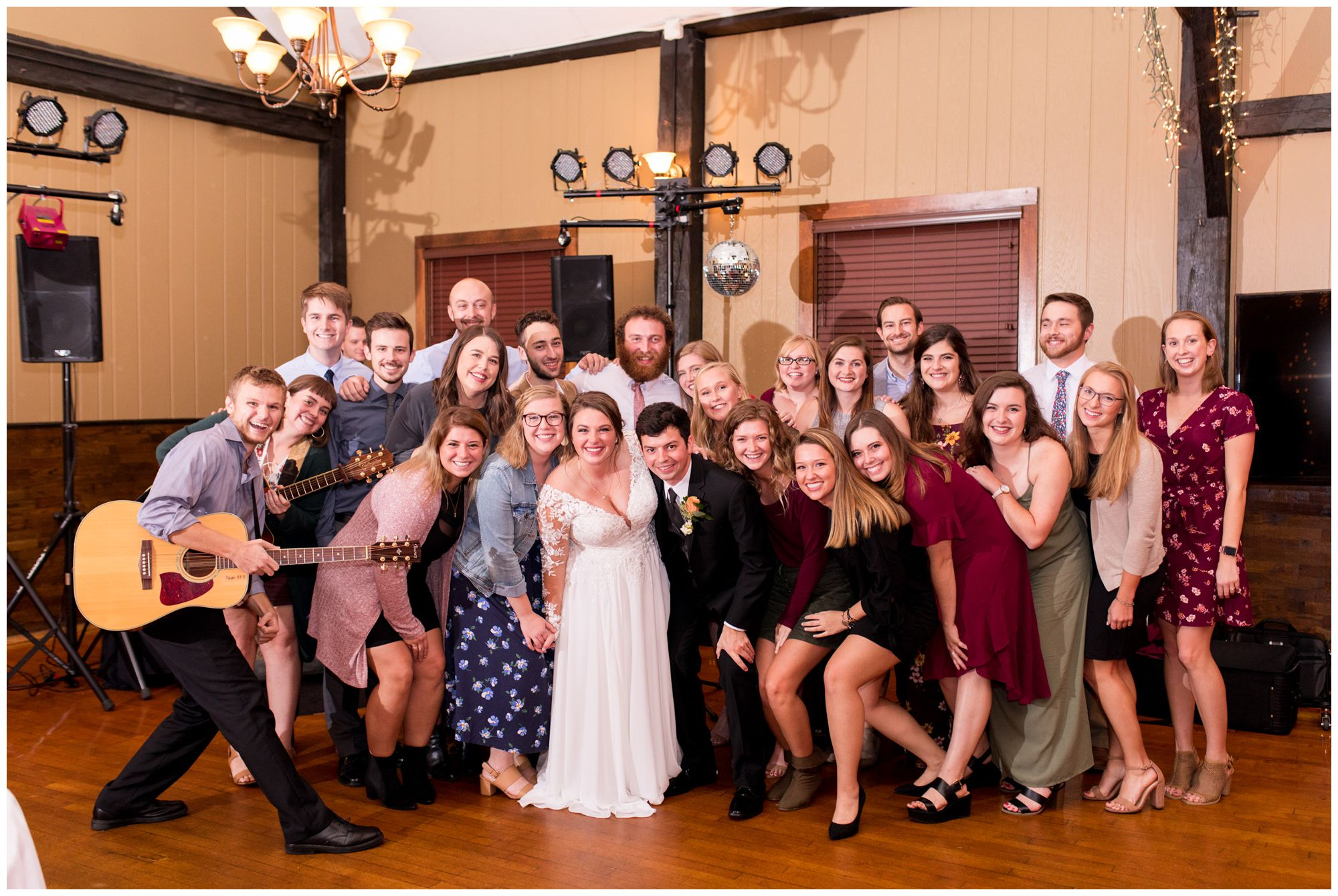 bride and groom with camp friends at Goeglein Homestead