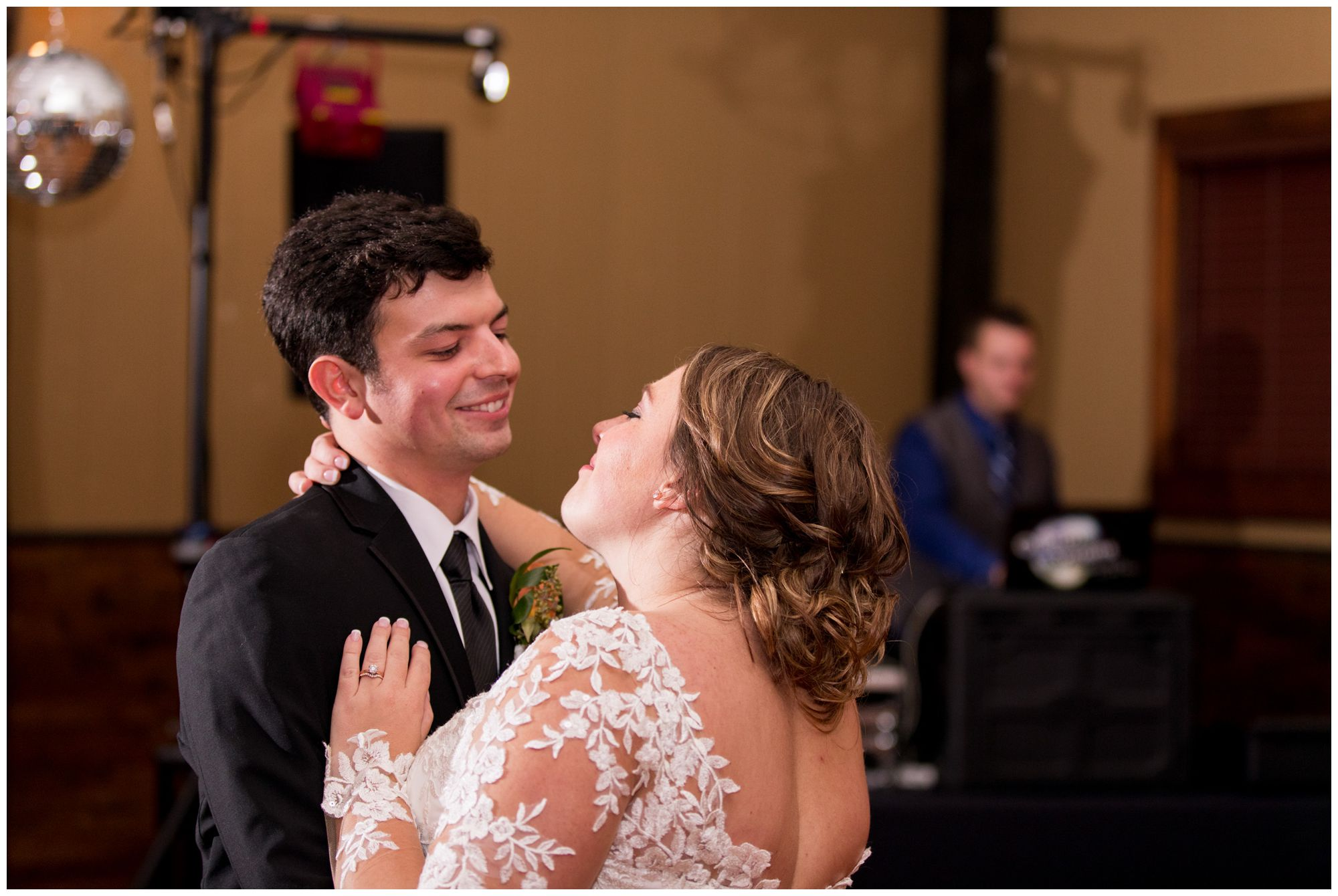 bride and groom first dance during Fort Wayne wedding reception at Goeglein Homestead