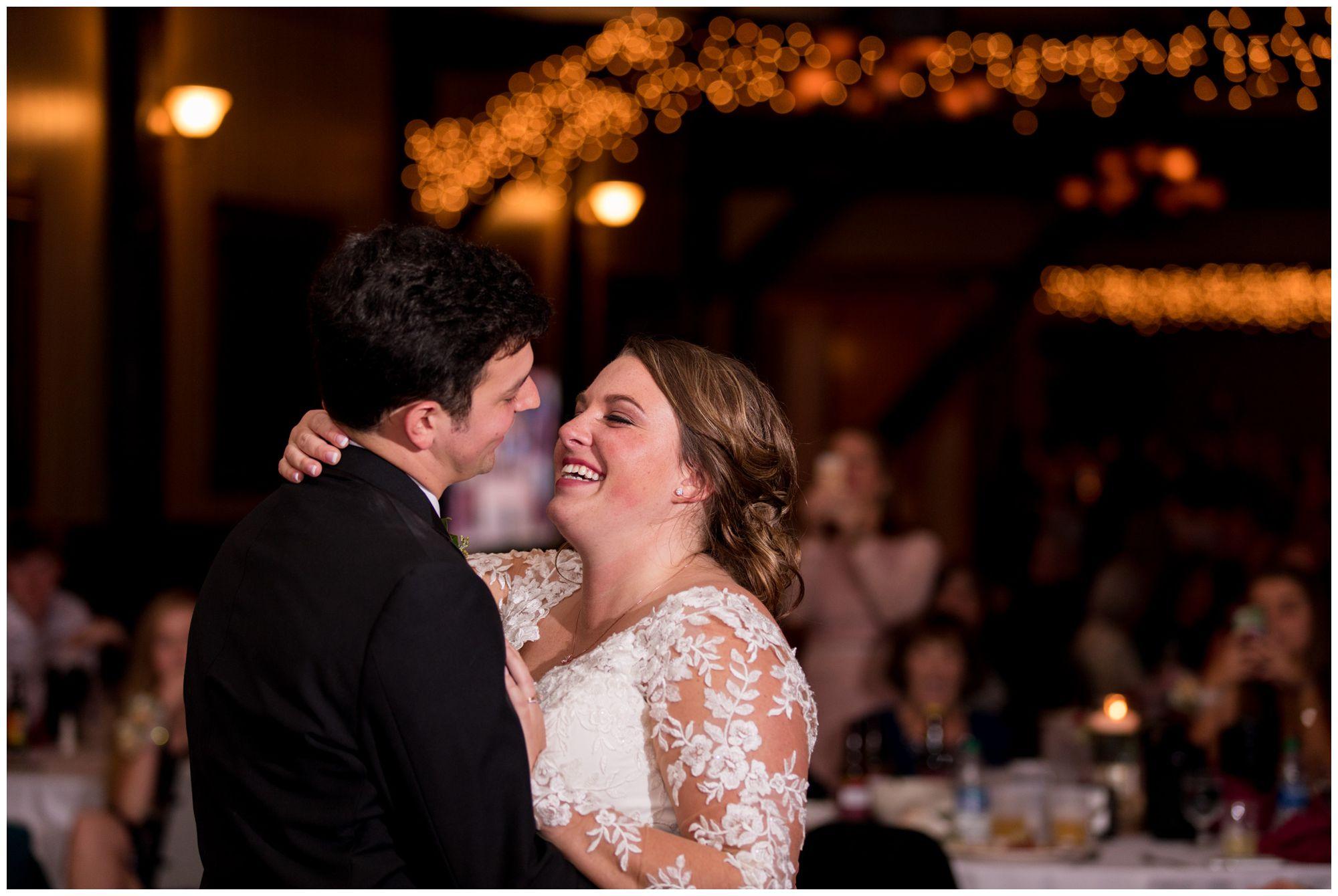 bride and groom first dance at Goeglein Homestead wedding reception in Fort Wayne