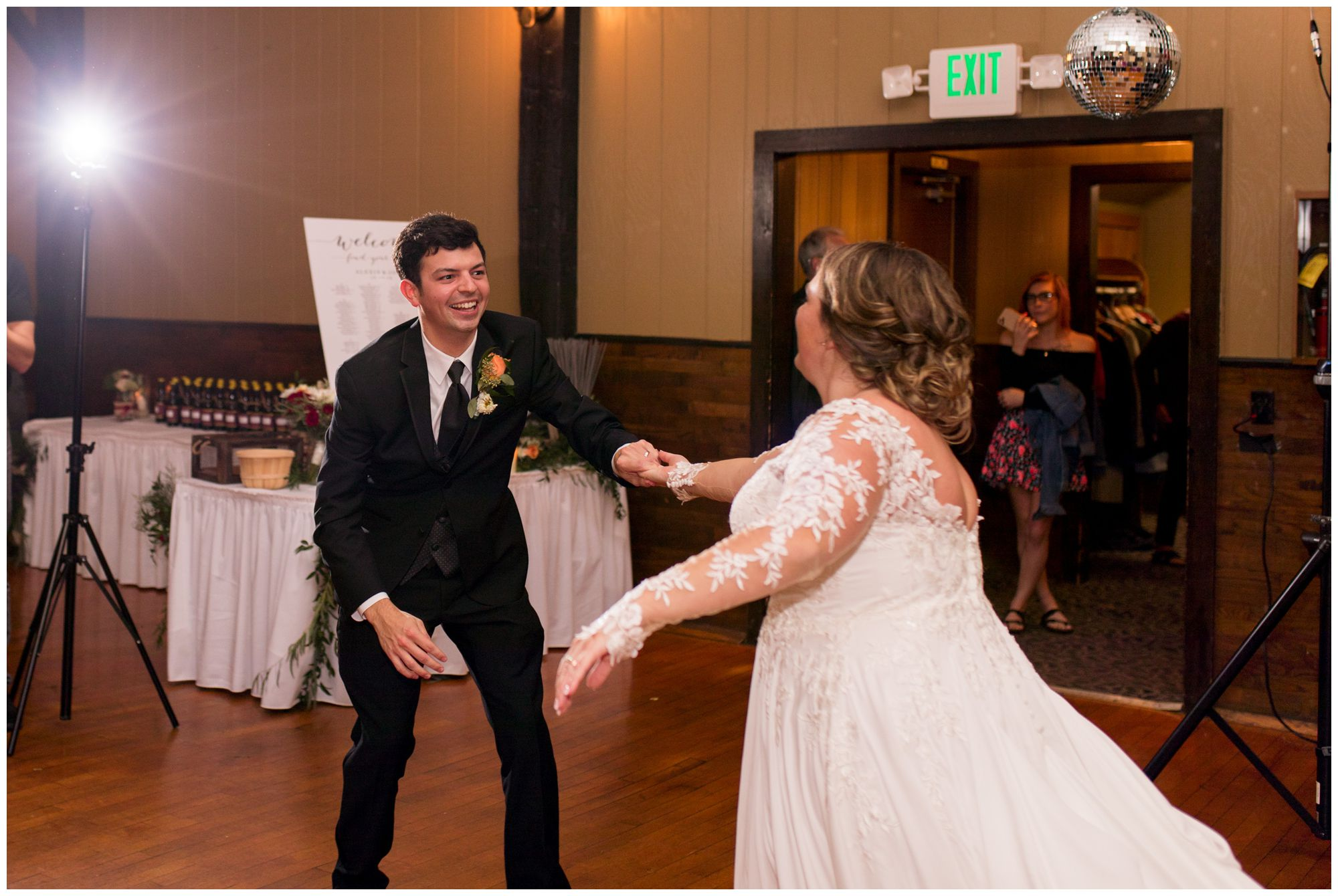 bride and groom first dance at Goeglein Homestead in Fort Wayne Indiana