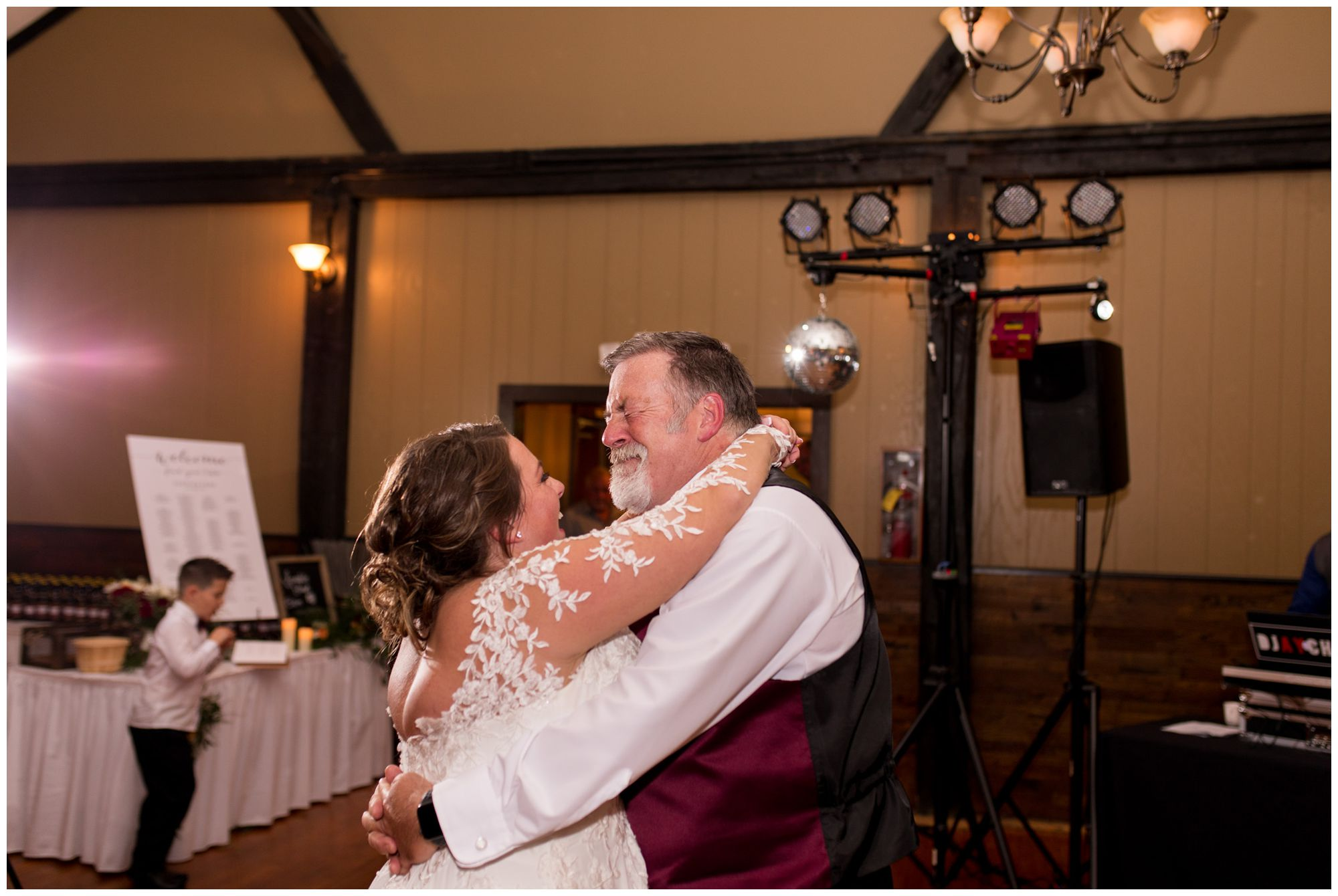 bride and father dance during reception at Goeglein Homestead in Fort Wayne