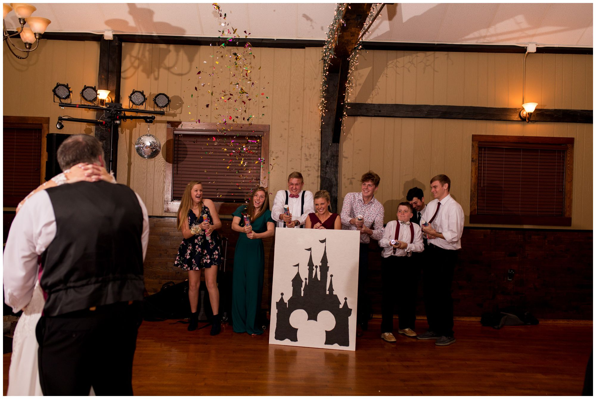 bride's siblings throw confetti during dance with her father at Goeglein Homestead