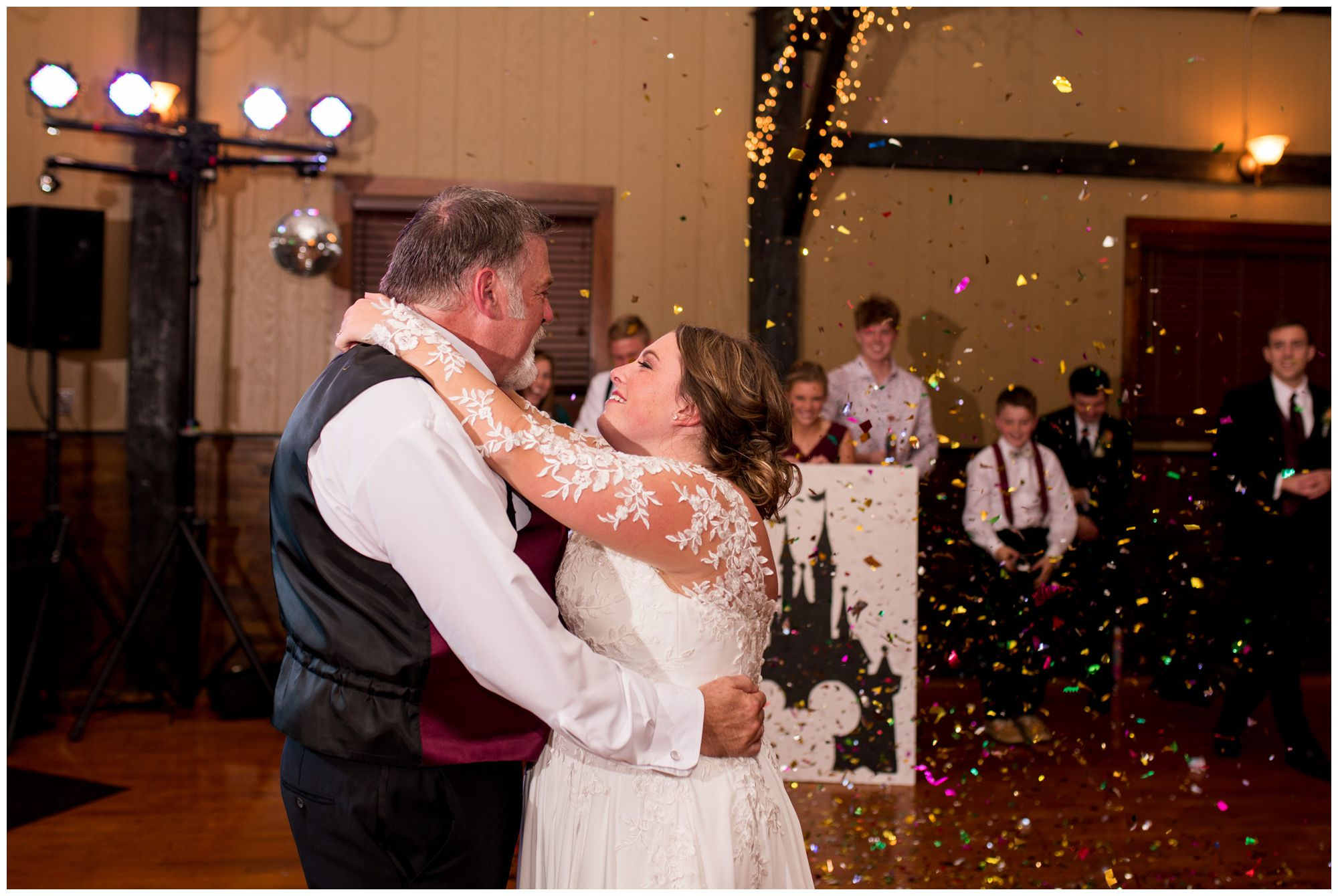 bride and father dance together at Goeglein Homestead