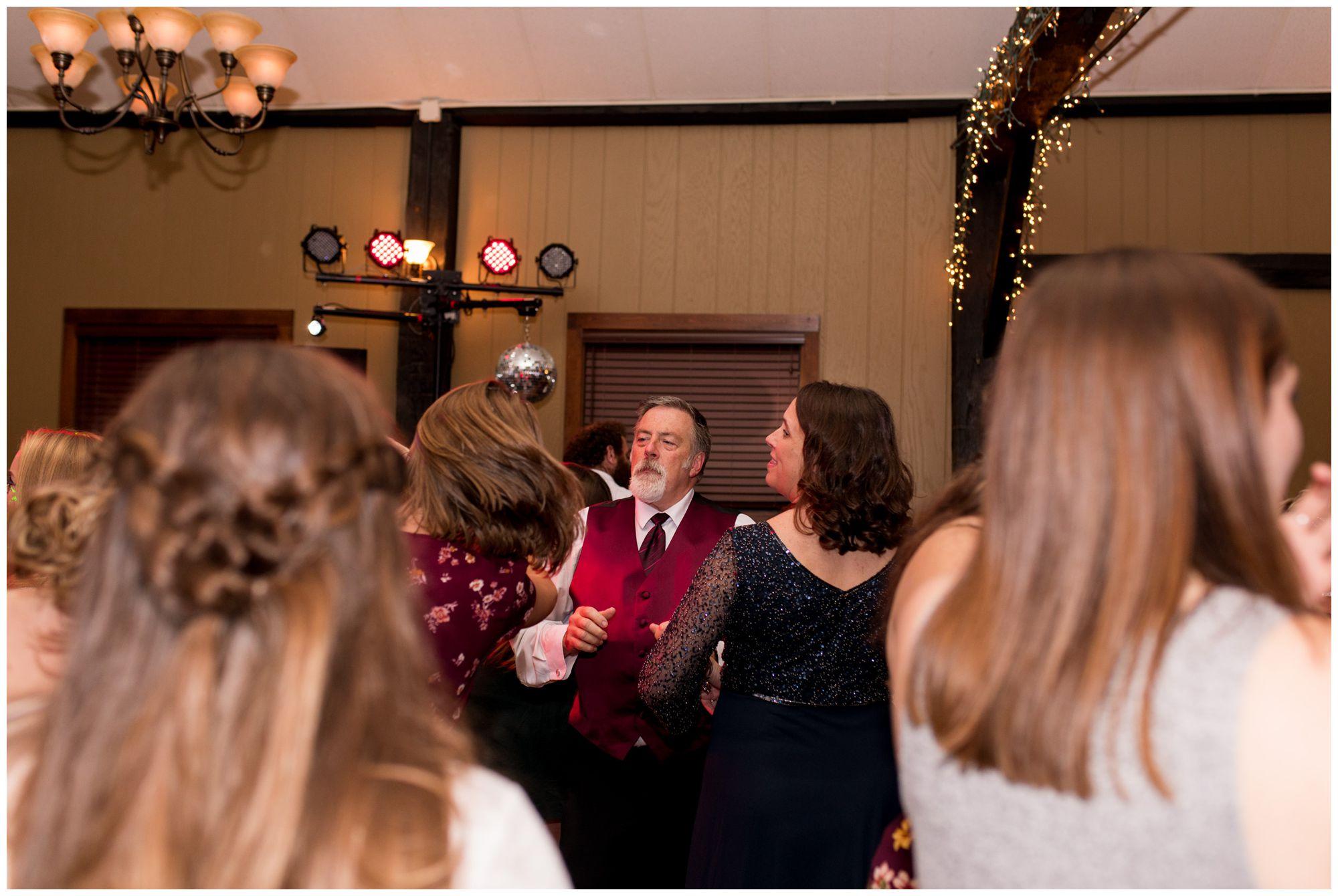 bride's father dances during Goeglein Homestead wedding reception in Fort Wayne