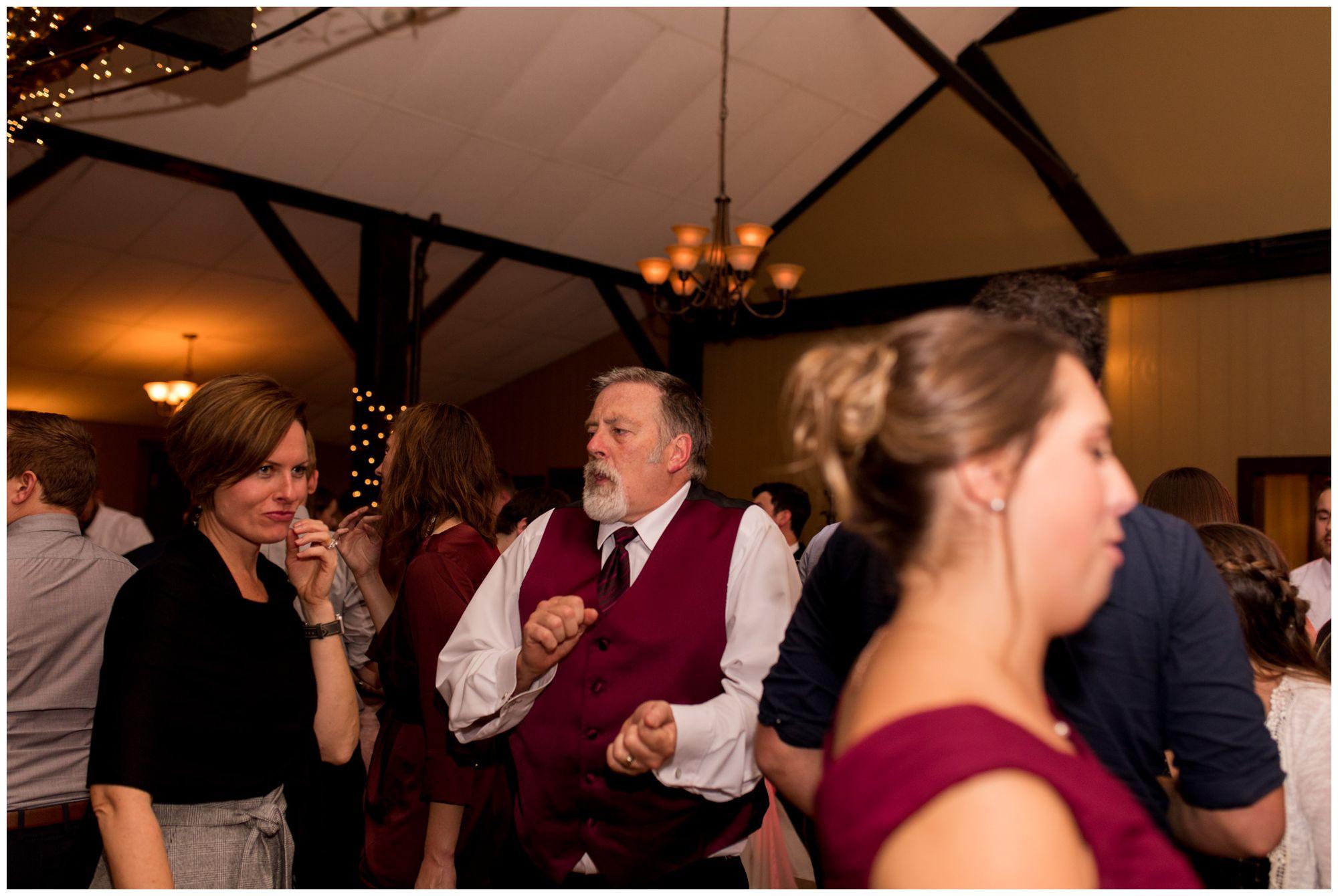 bride's dad dances during Goeglein Homestead reception