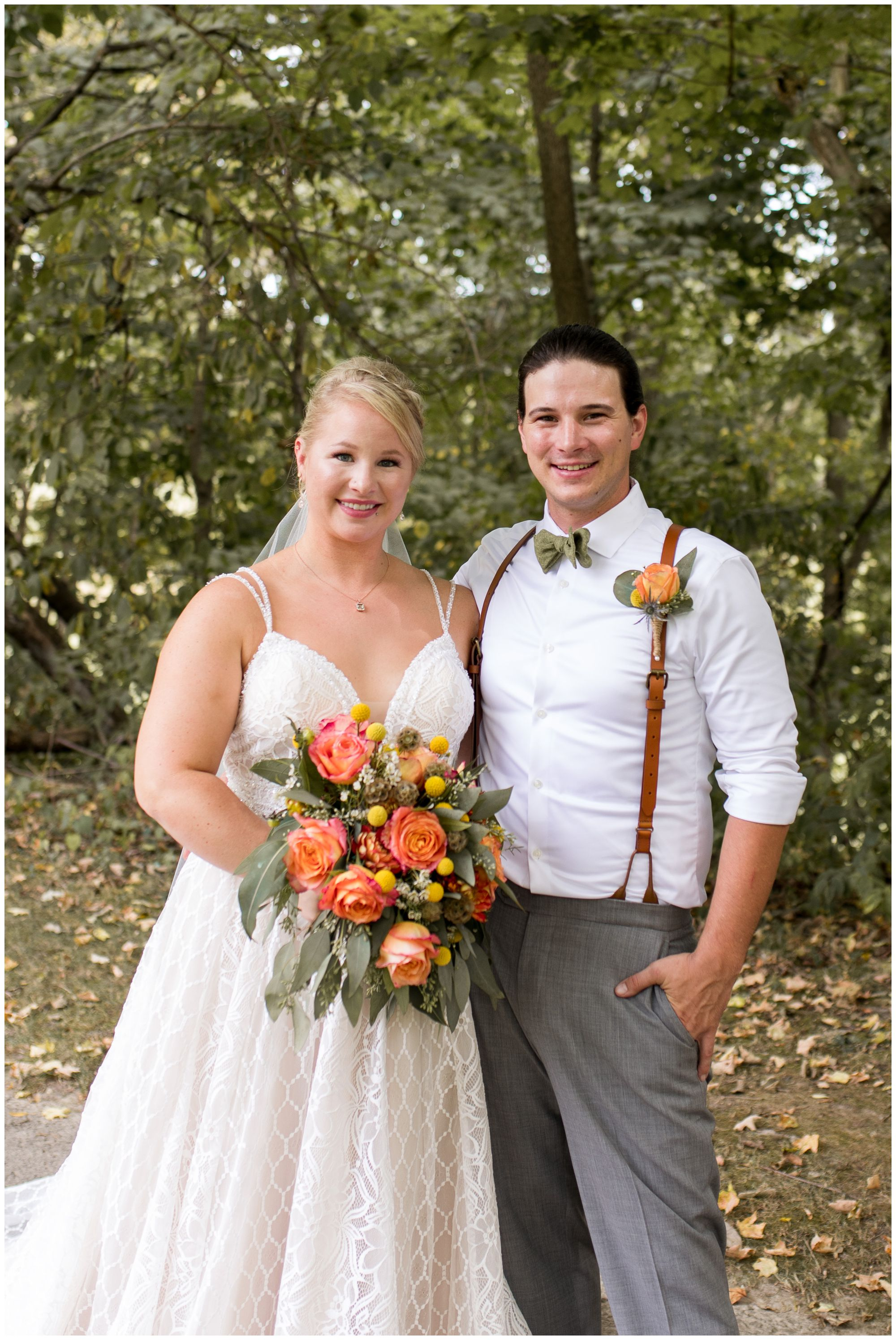 Forest Park bride and groom portraits in Noblesville Indiana