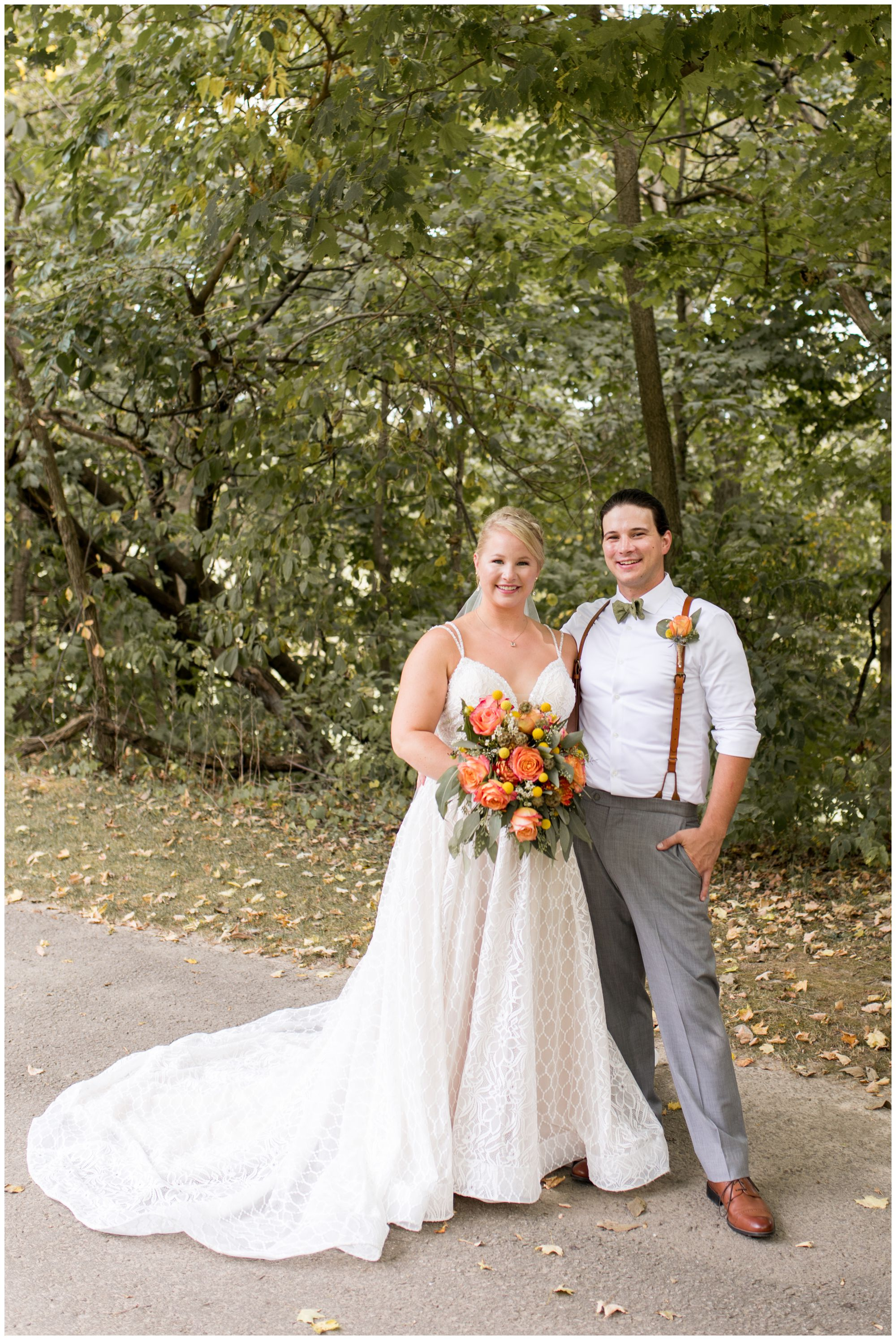 bride and groom portraits at Forest Park Inn in Noblesville Indiana
