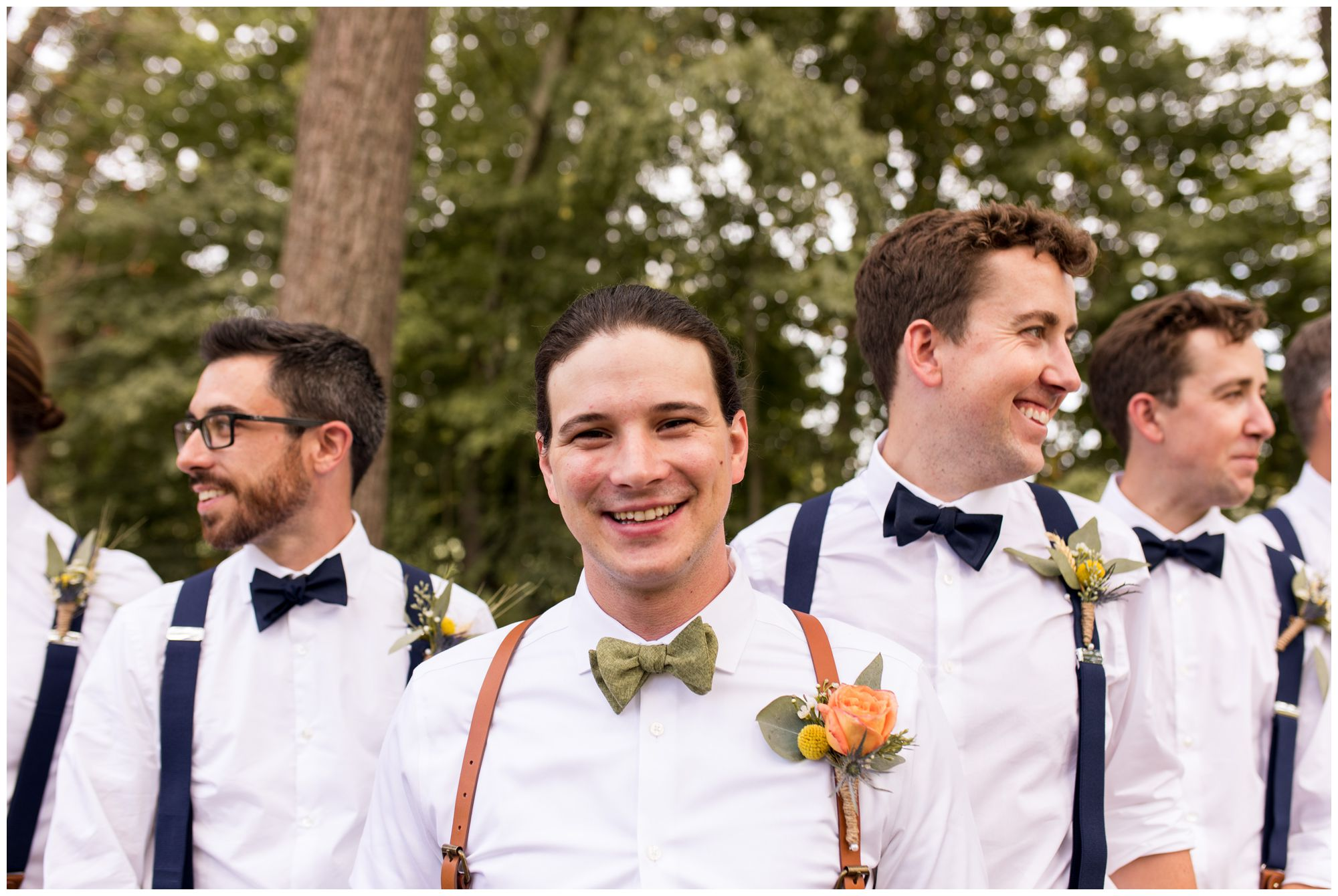 groom with groomsmen at Forest Park Inn in Noblesville
