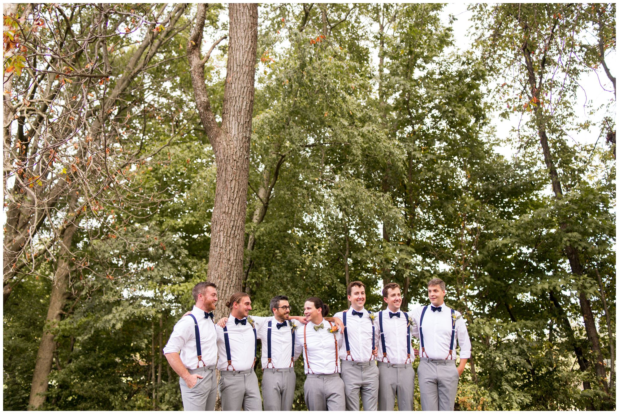 groom and groomsmen before Forest Park Inn Noblesville wedding