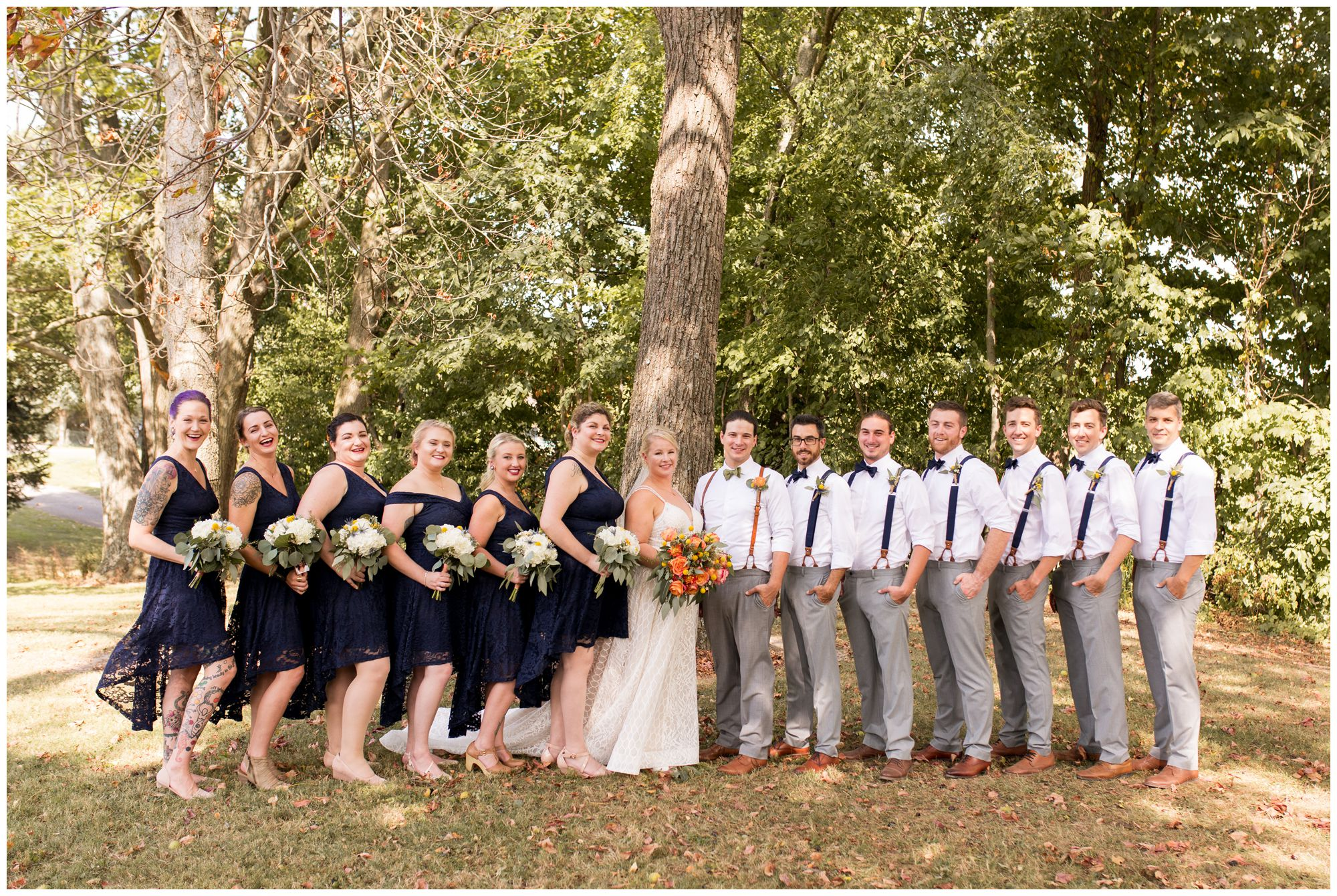 wedding party portraits at Forest Park in Noblesville Indiana