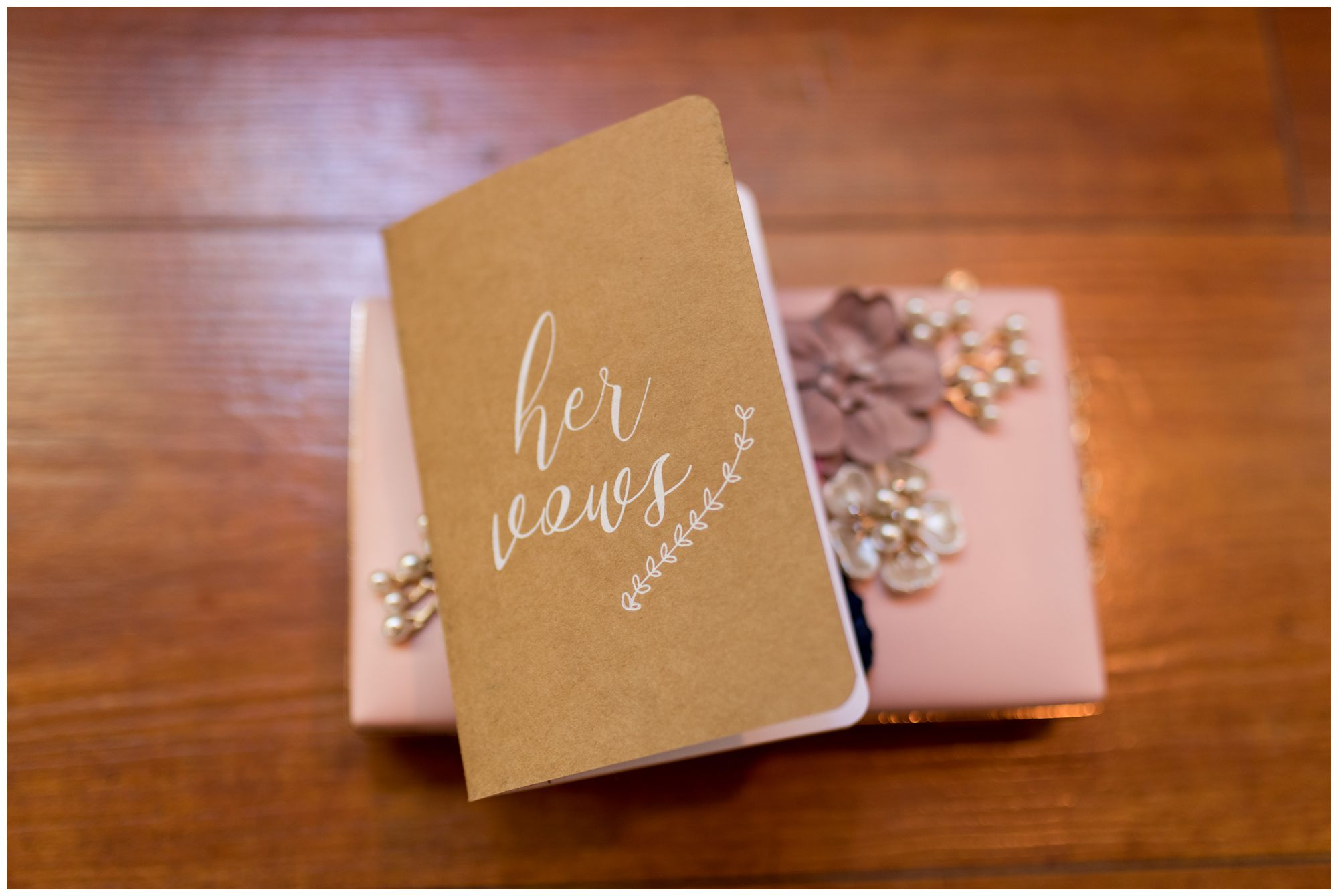 bride's vows book and purse at Noblesville wedding