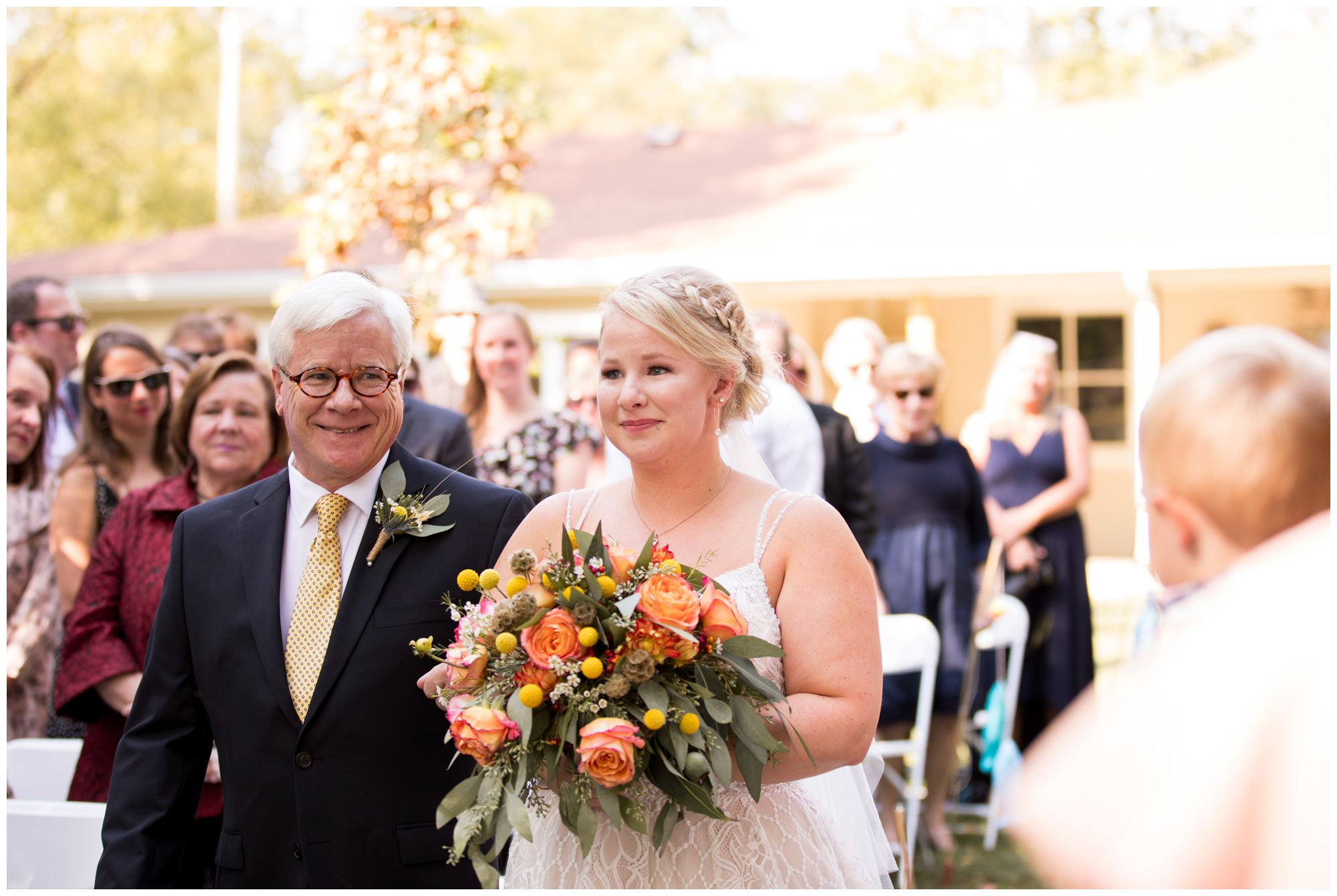 bride walks down the aisle with father at Forest Park Inn wedding ceremony