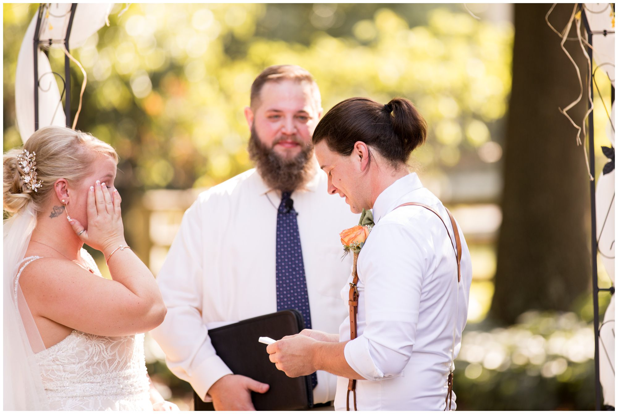 bride cries during wedding ceremony vows in Noblesville Indiana
