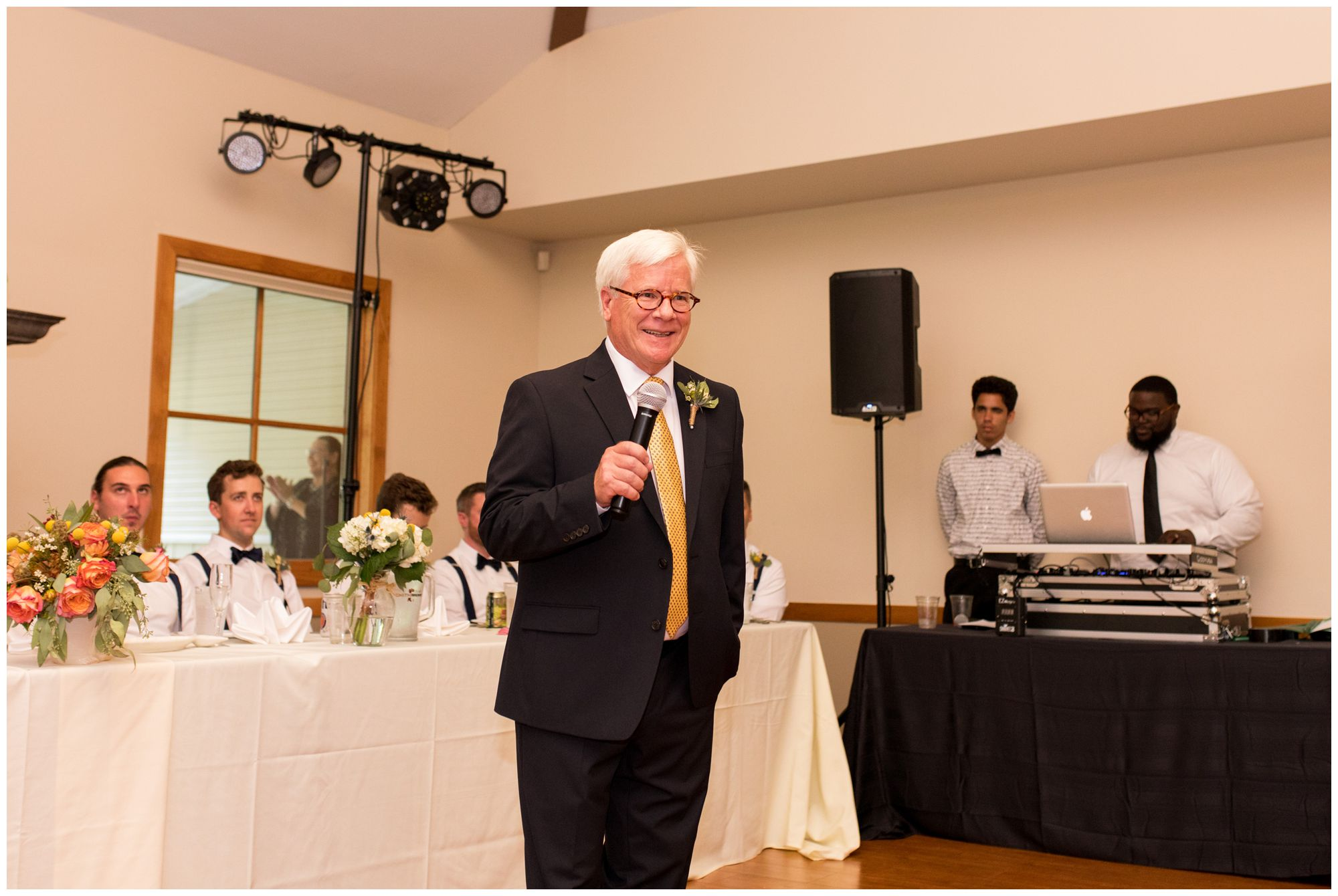 father of the bride welcome speech during wedding reception at Forest Park Inn