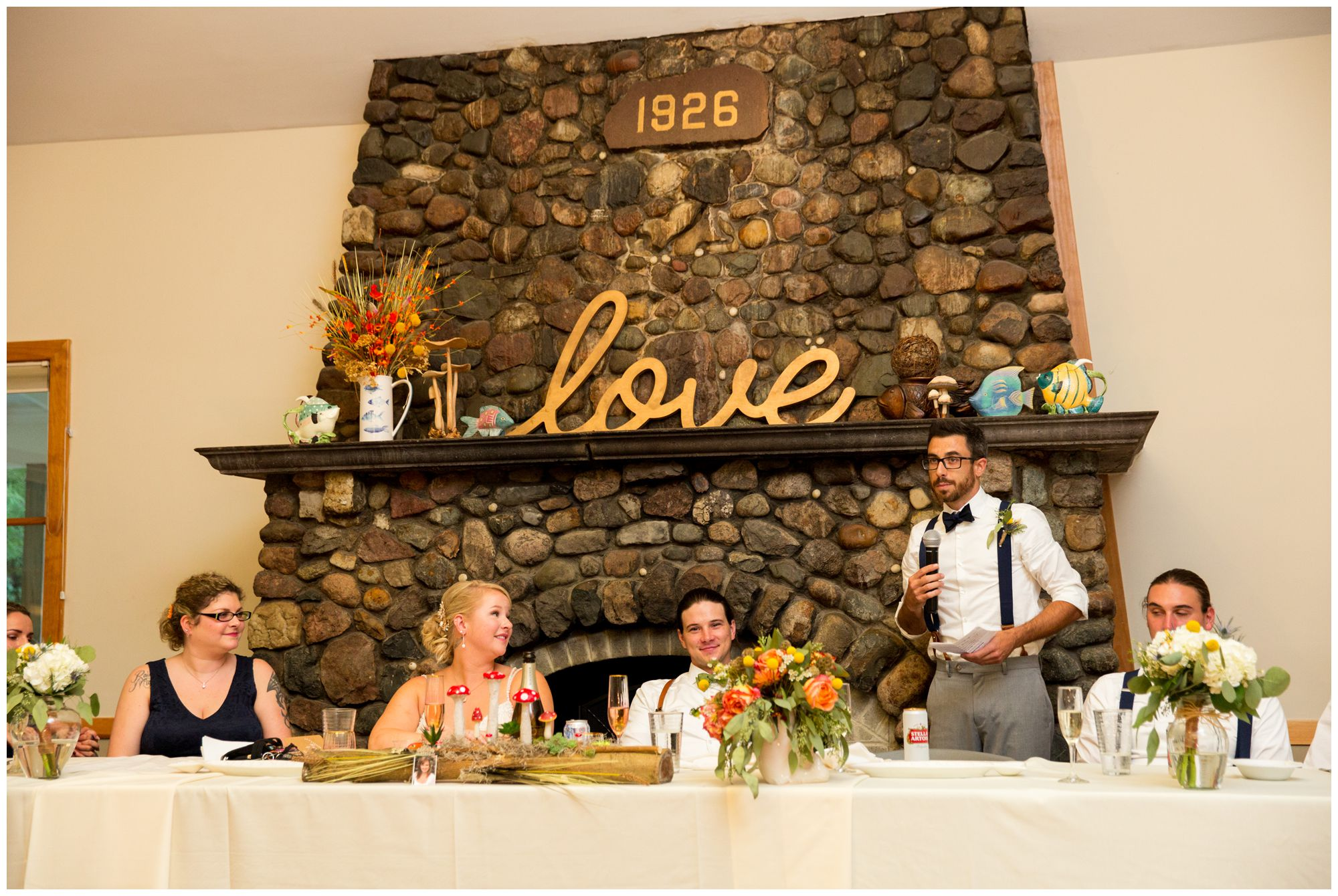 best man toast during Forest Park Inn wedding reception