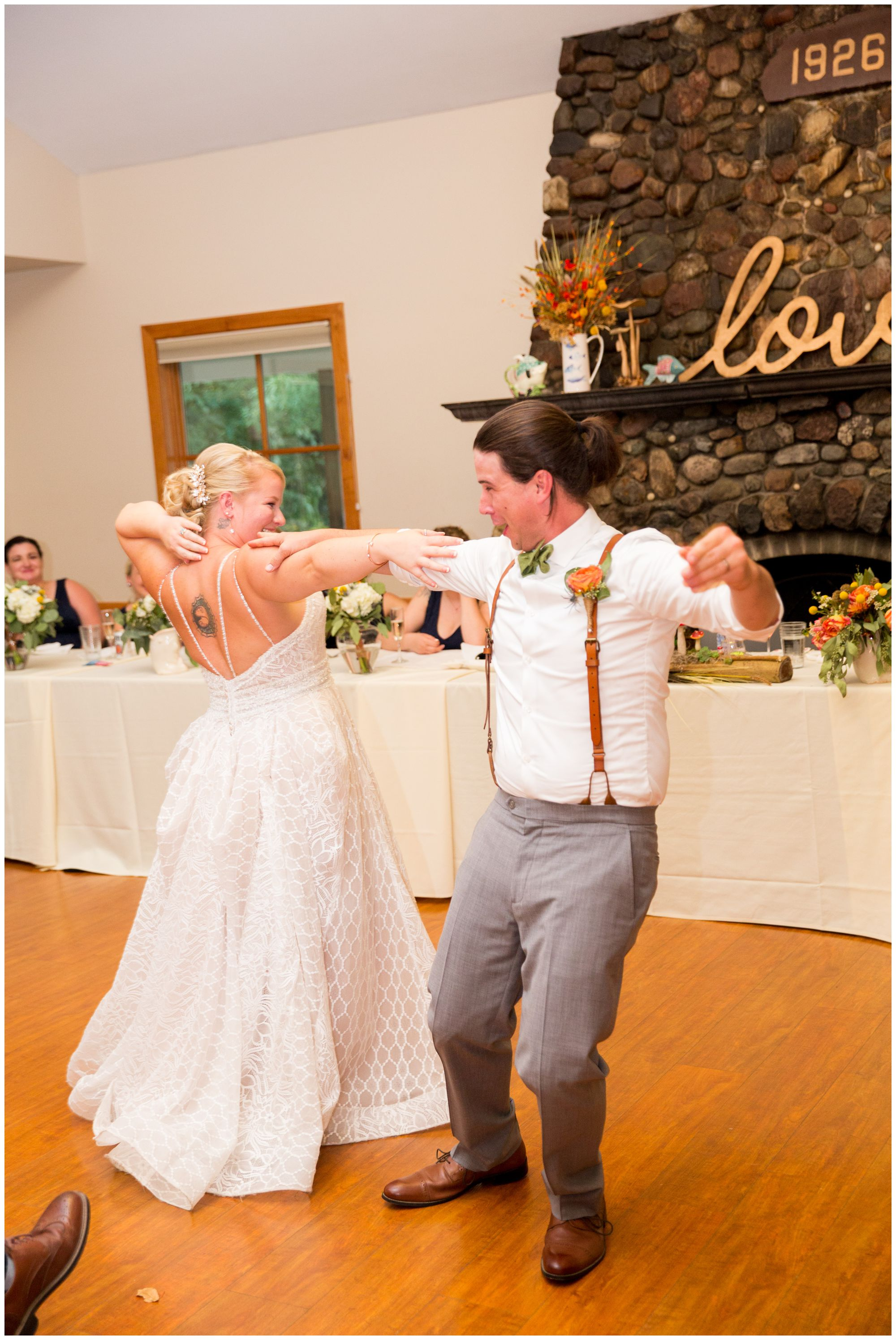 bride and groom first dance at Forest Park Inn in Noblesville
