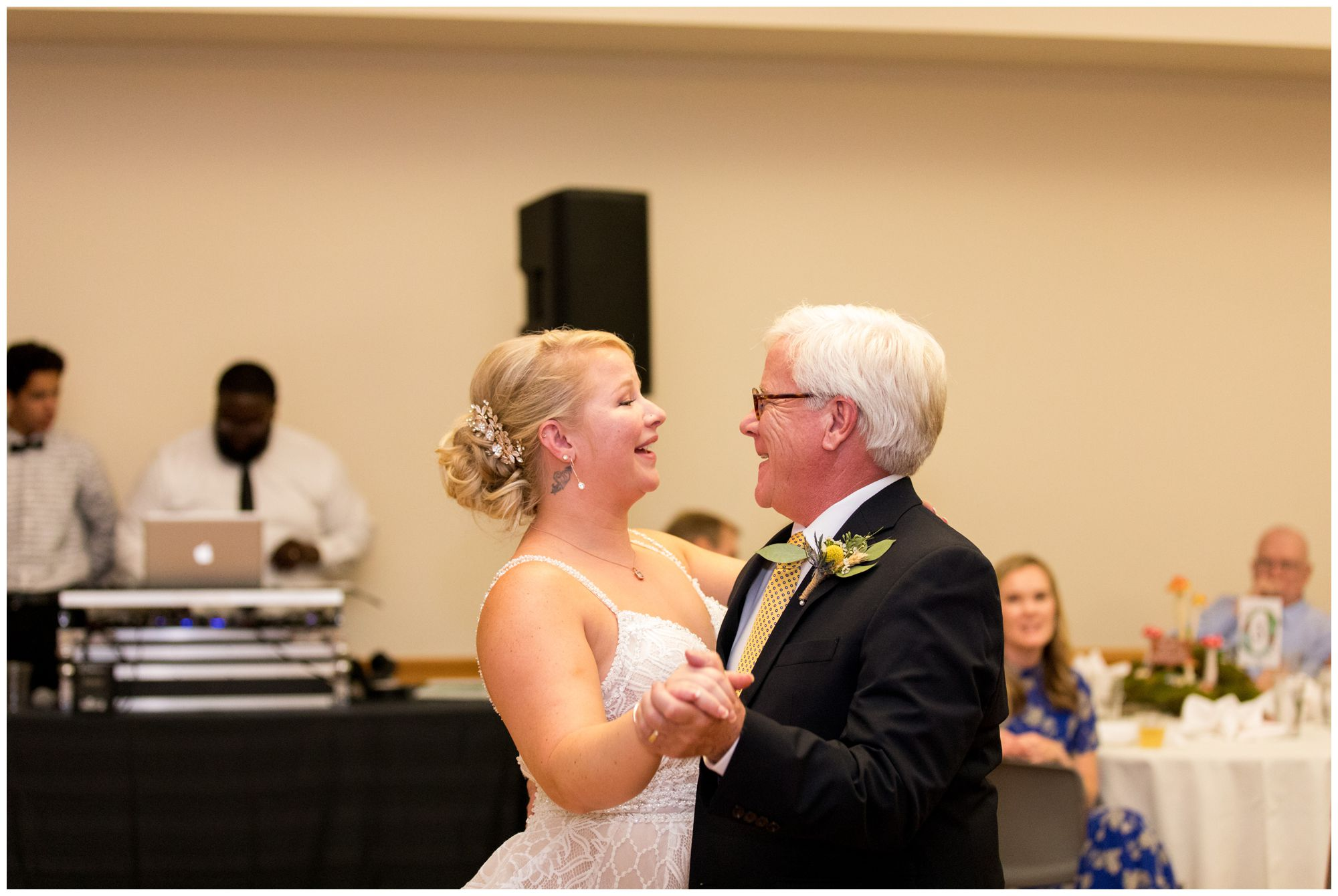 bride dances with father during wedding reception at Forest Park Inn