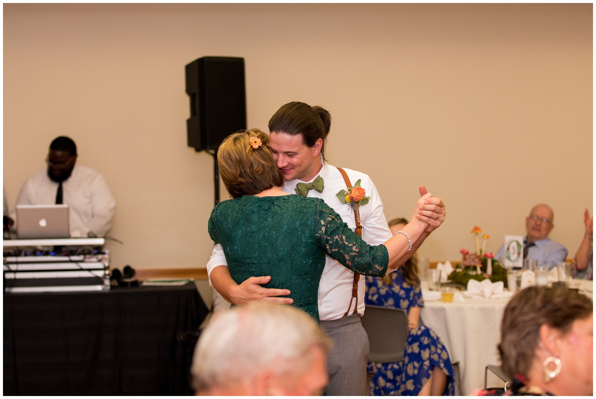 groom and mother dance during wedding reception at Forest Park Inn