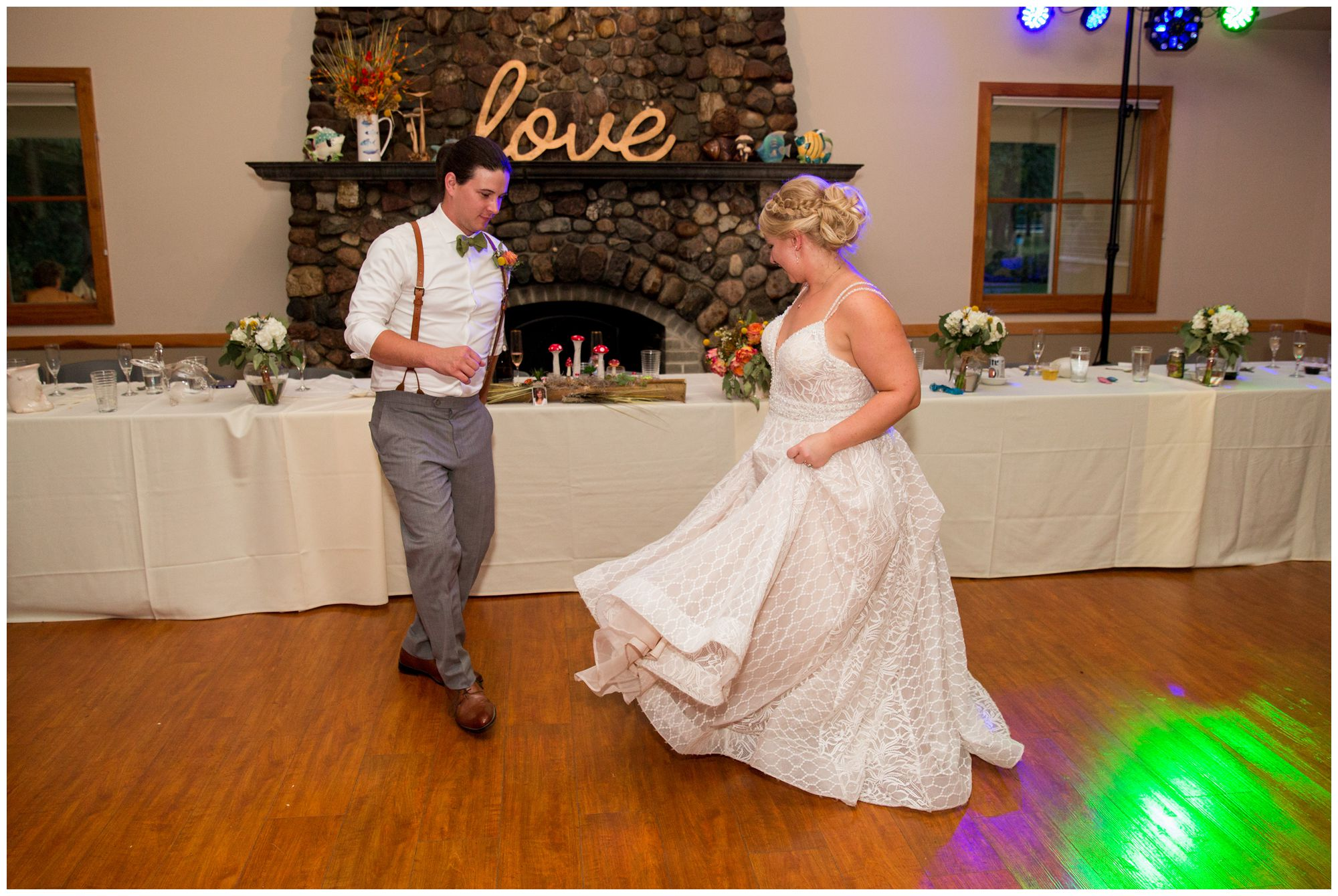 bride and groom dance during Noblesville wedding reception