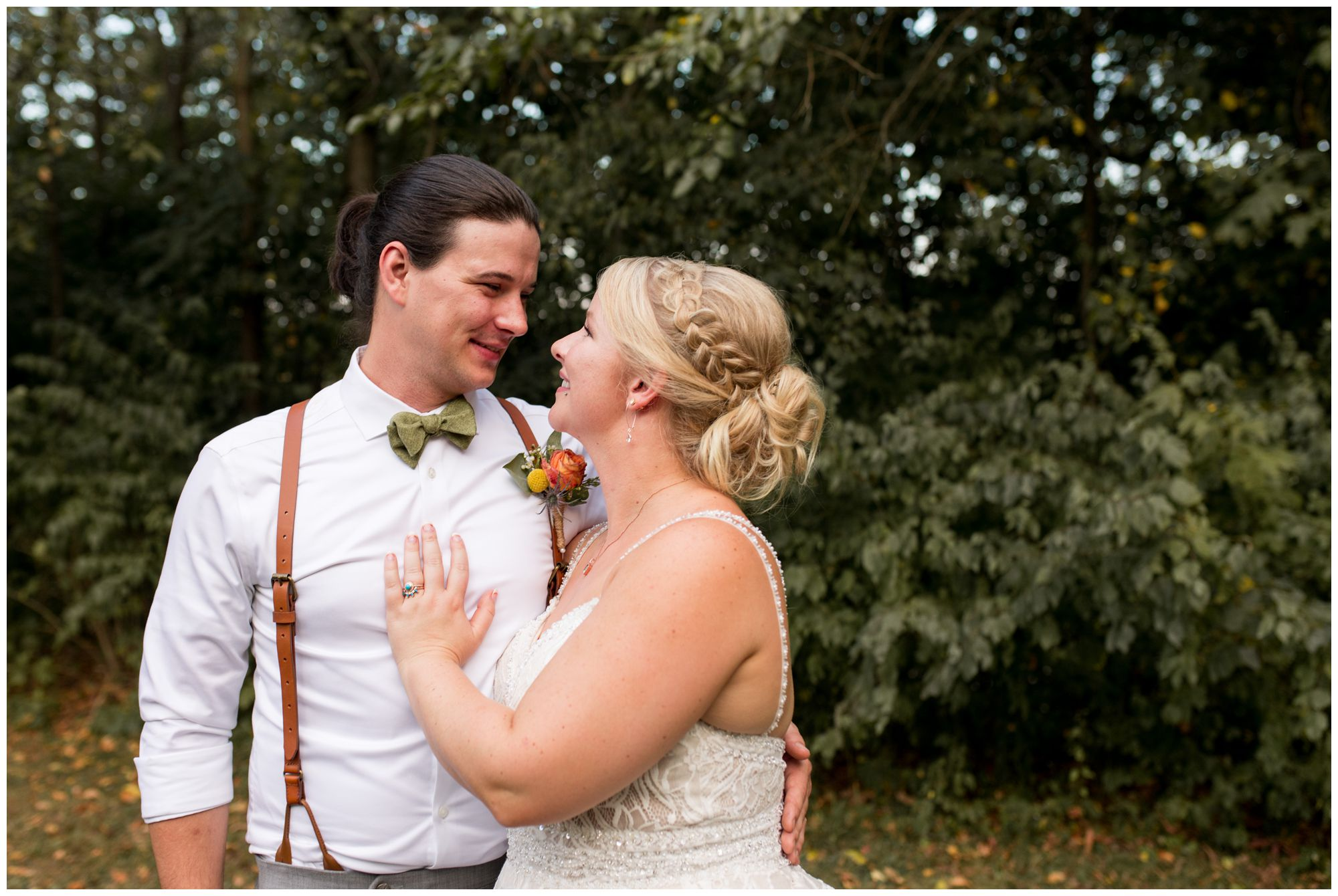 bride and groom Forest Park wedding portraits in Noblesville Indiana