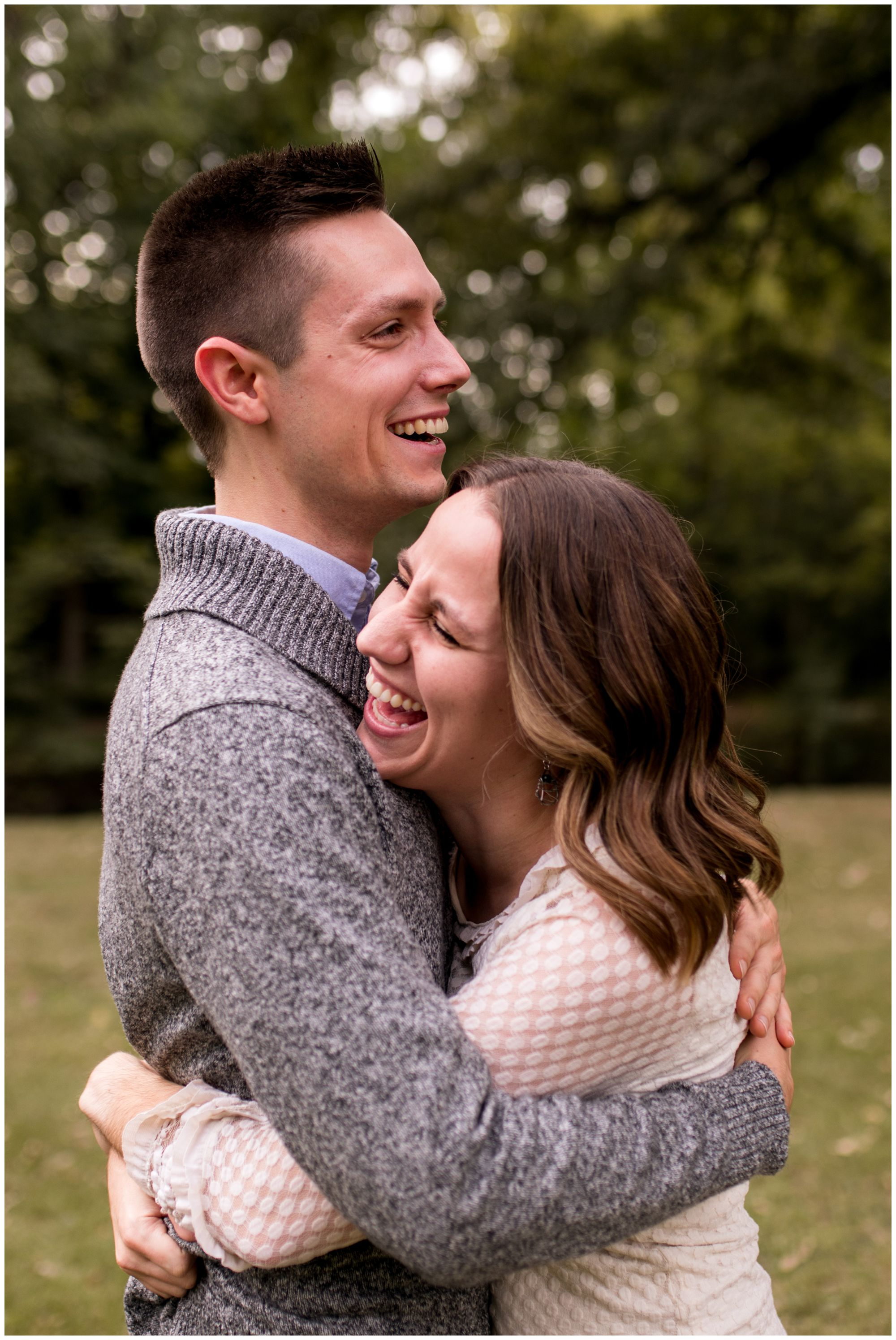 bride and groom laugh together during Kokomo engagement session