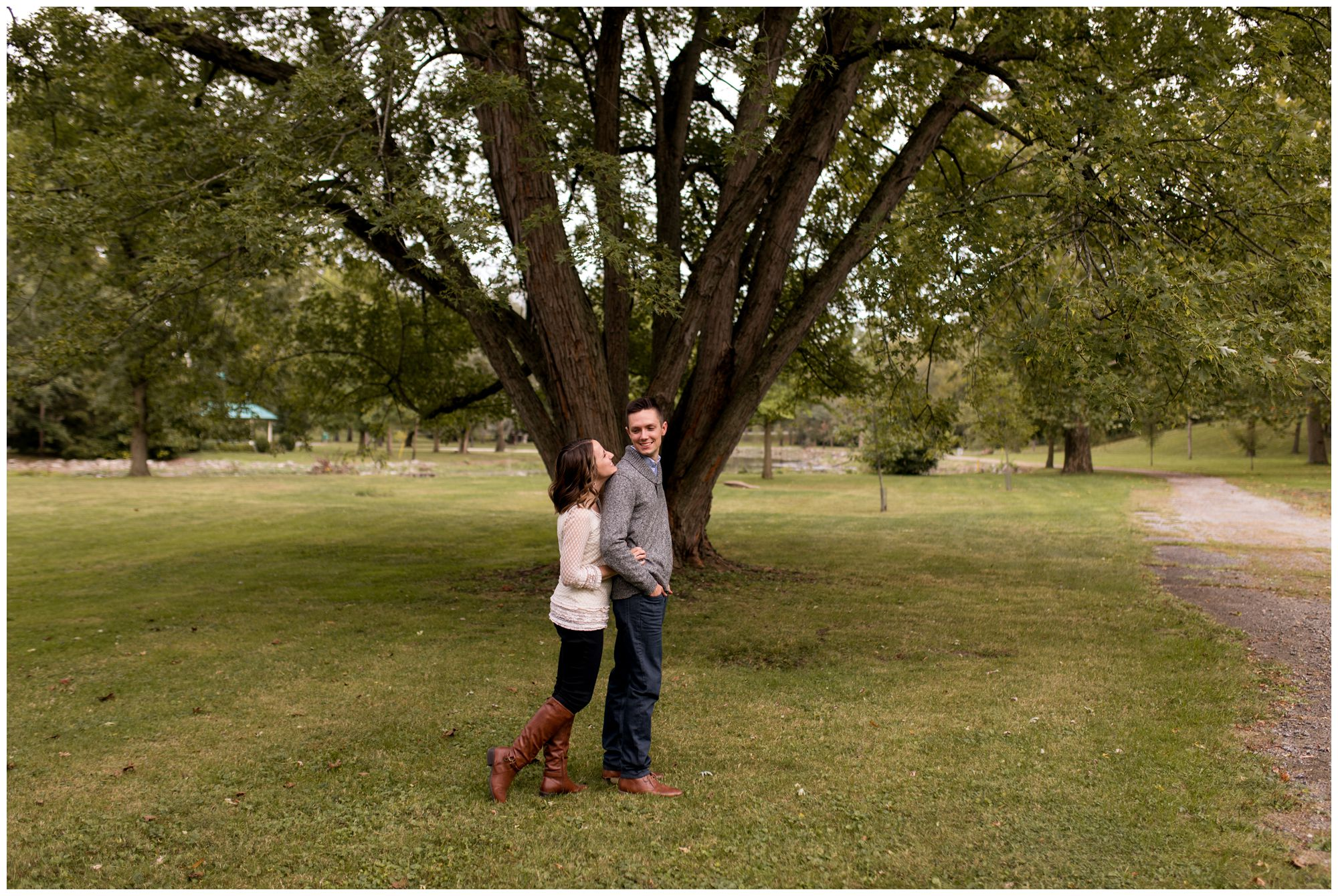 bride and groom engagement session at Highland Park in Kokomo Indiana
