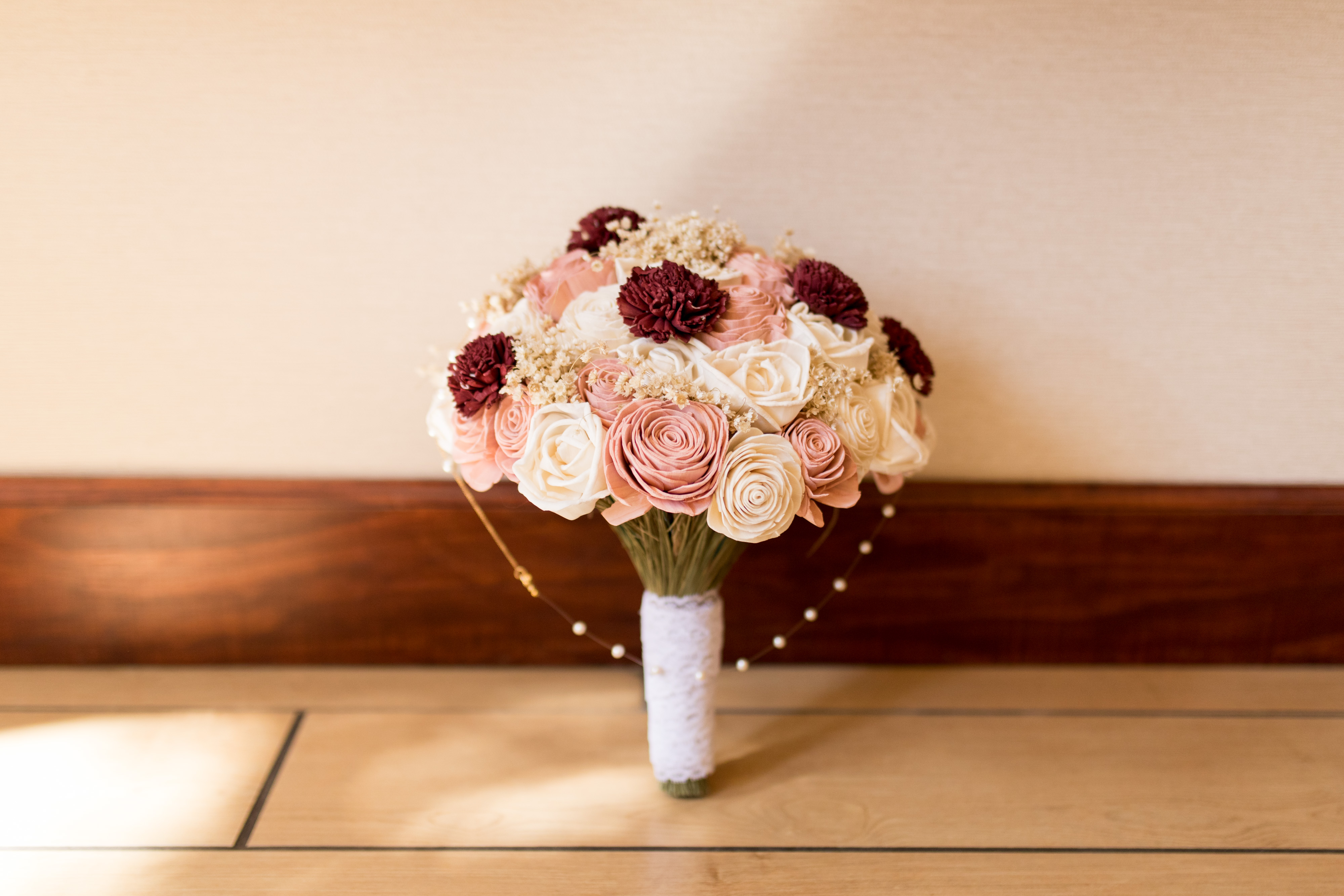 Southern Blooms Co burgundy and pink bouquet