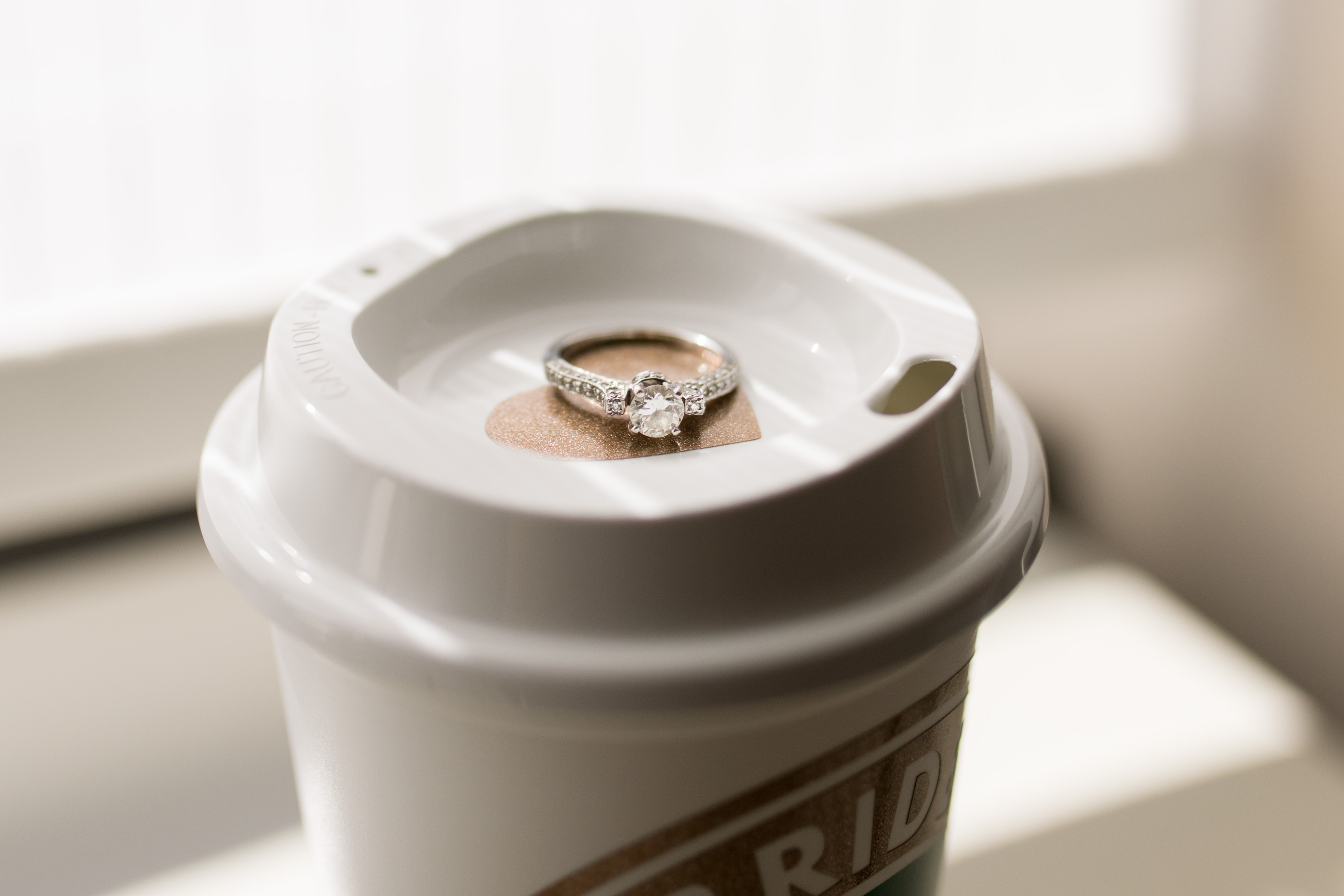 ring from Palmer's Jewelry on bride's coffee cup in Kokomo Indiana