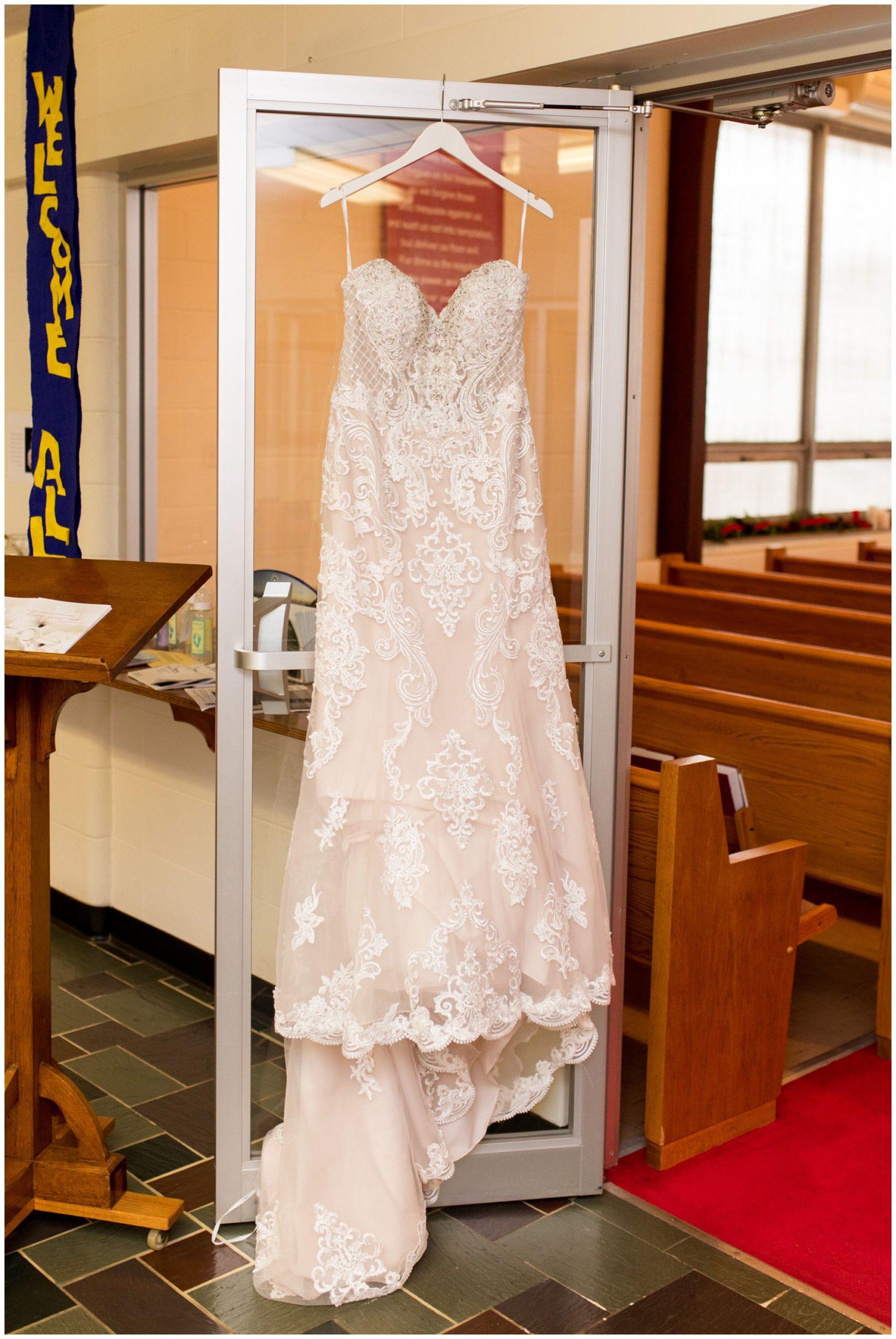 bride's dress in Zion Lutheran Church in Portland Indiana