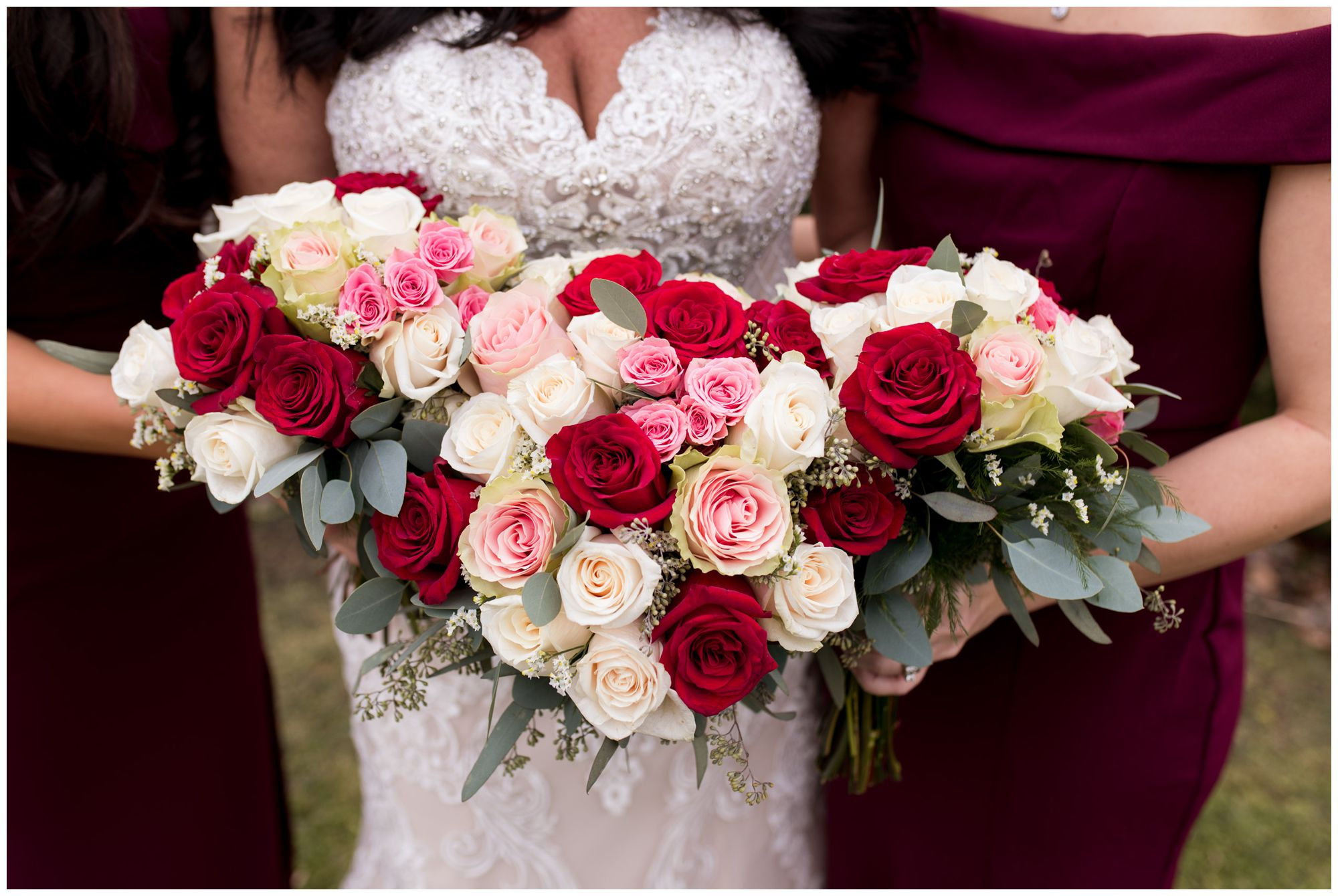 bride and bridesmaids bouquets at Zion Lutheran Church wedding in Portland Indiana