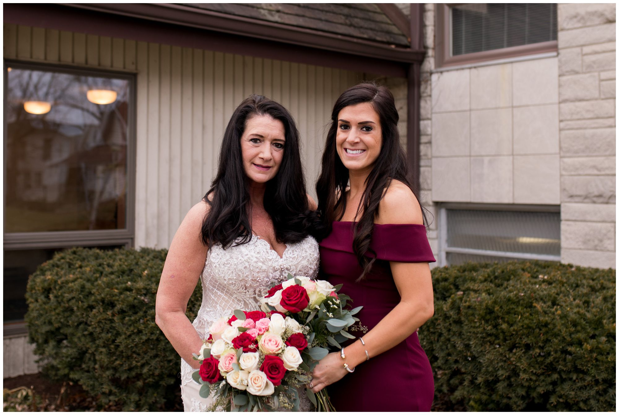 bride and daughter before wedding at Zion Lutheran Church in Portland Indiana