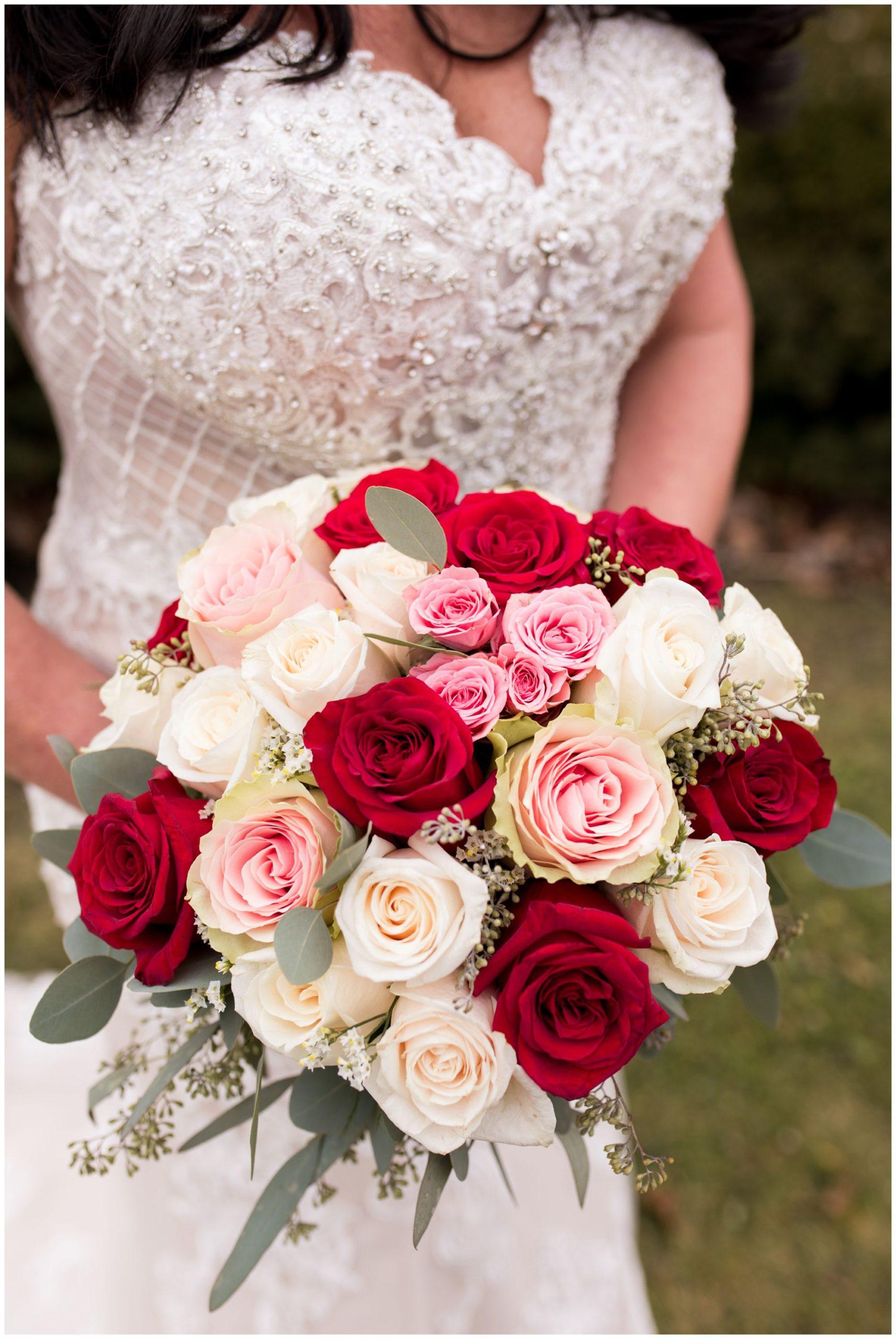 bride with bouquet before Portland Golf Club wedding in Portland Indiana