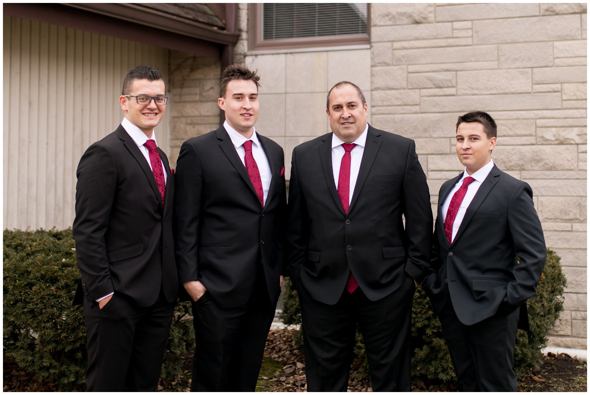 groom with groomsmen before wedding at Zion Lutheran Church in Portland Indiana