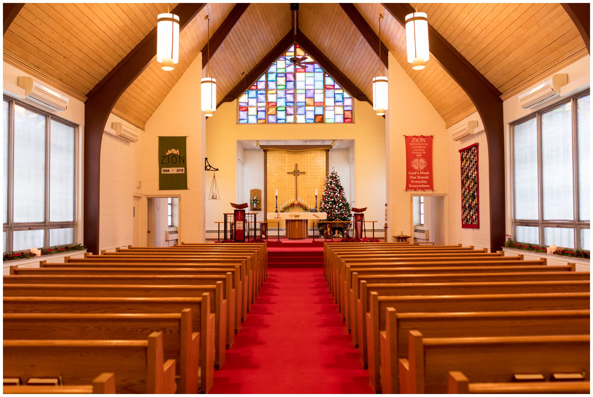 inside Zion Lutheran Church in Portland Indiana