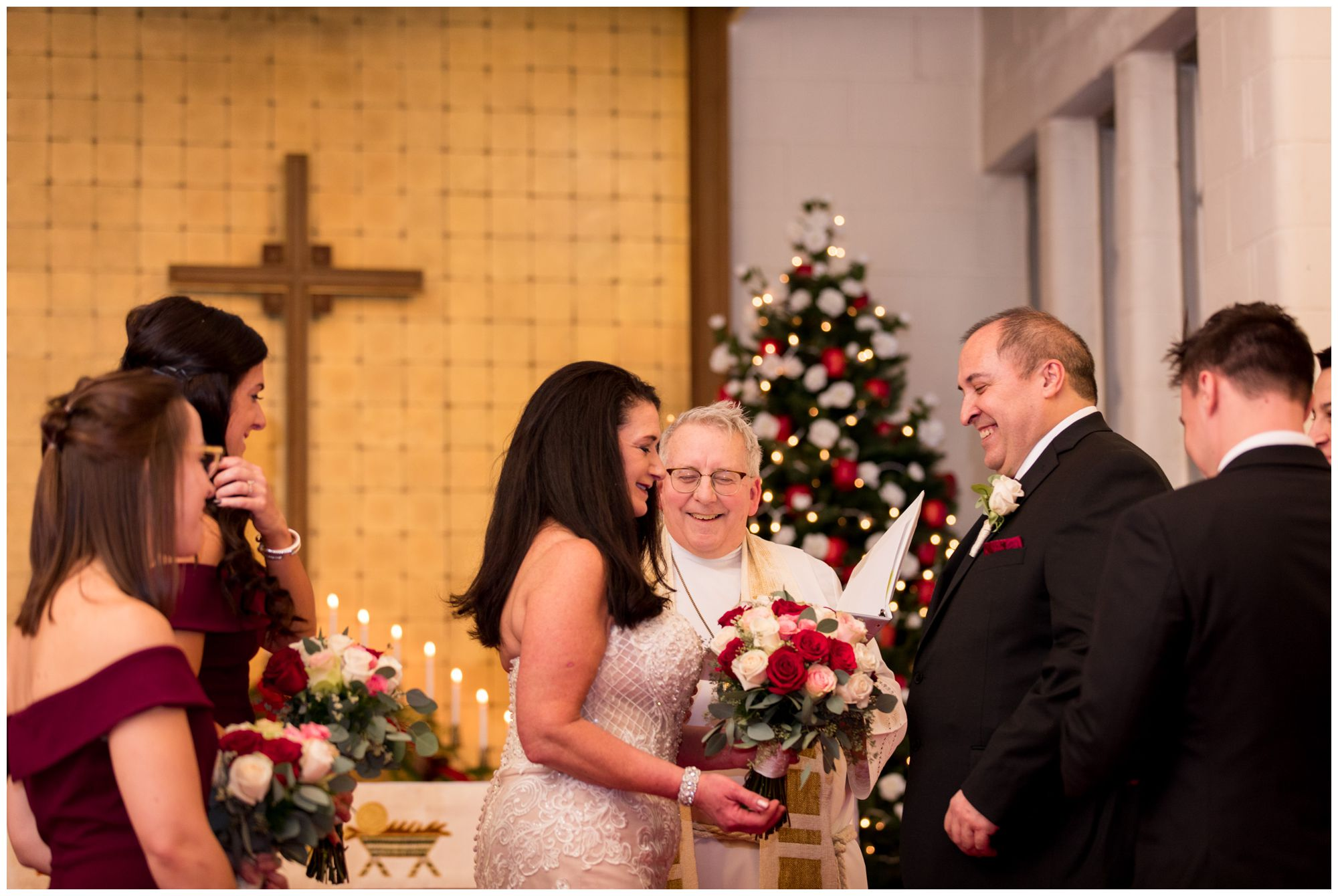 bride and groom during wedding at Zion Lutheran Church in Portland Indiana