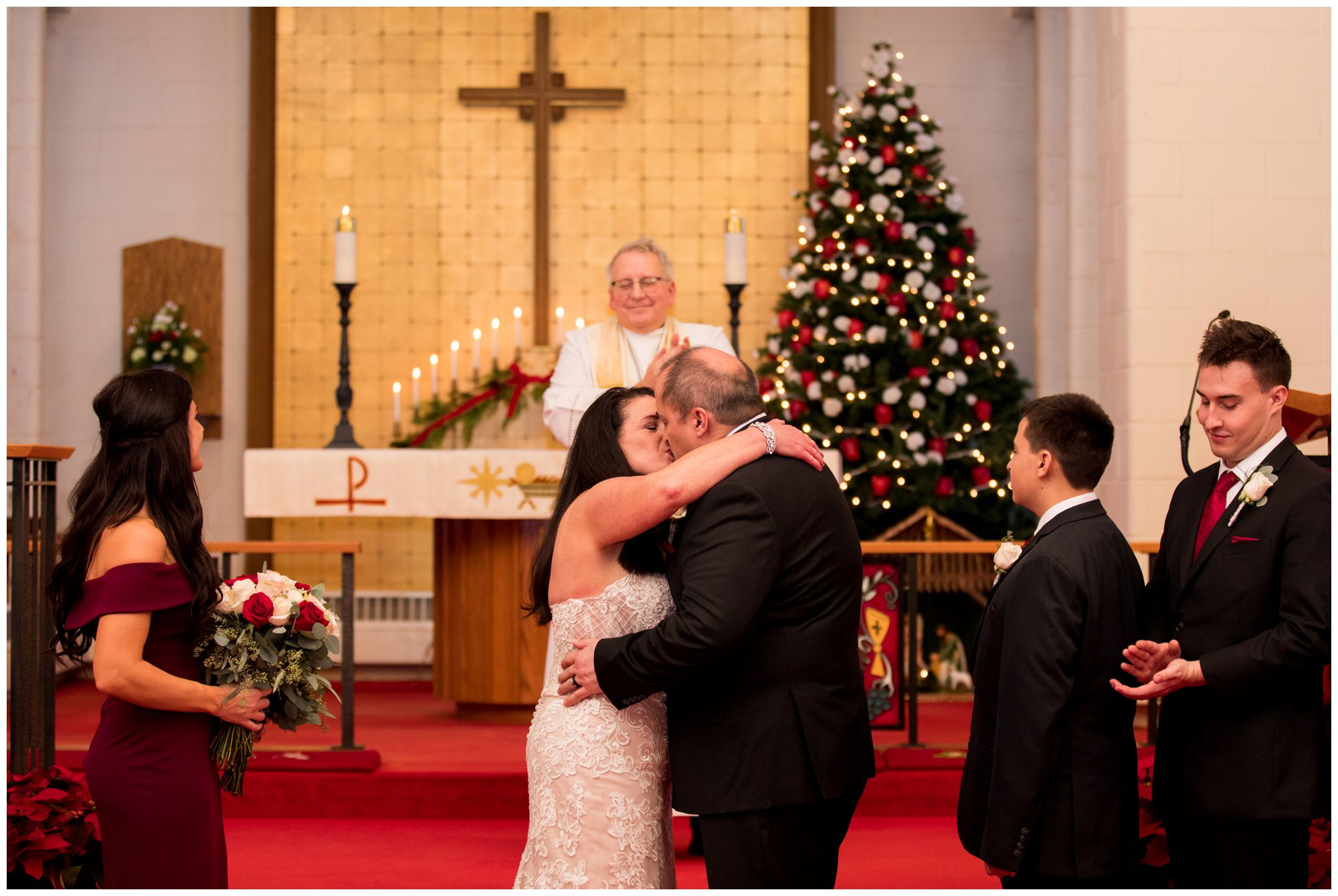 bride and groom first kiss at Zion Lutheran Church in Portland Indiana