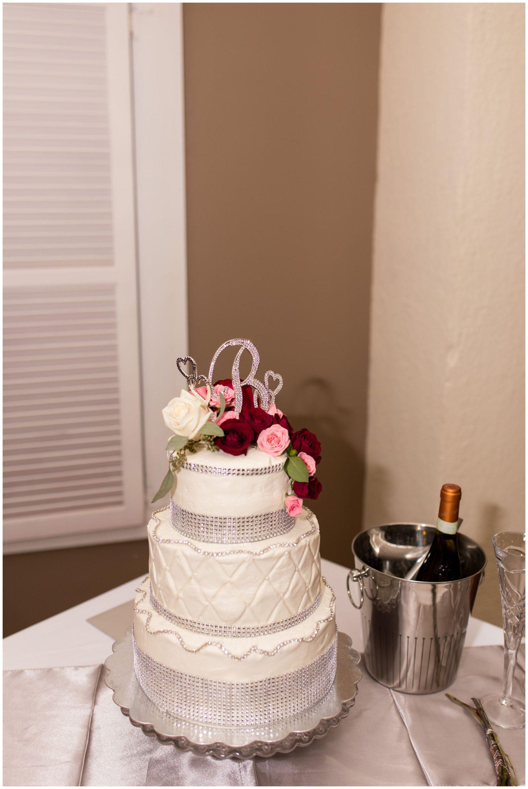wedding cake at Portland Golf Club in Portland Indiana