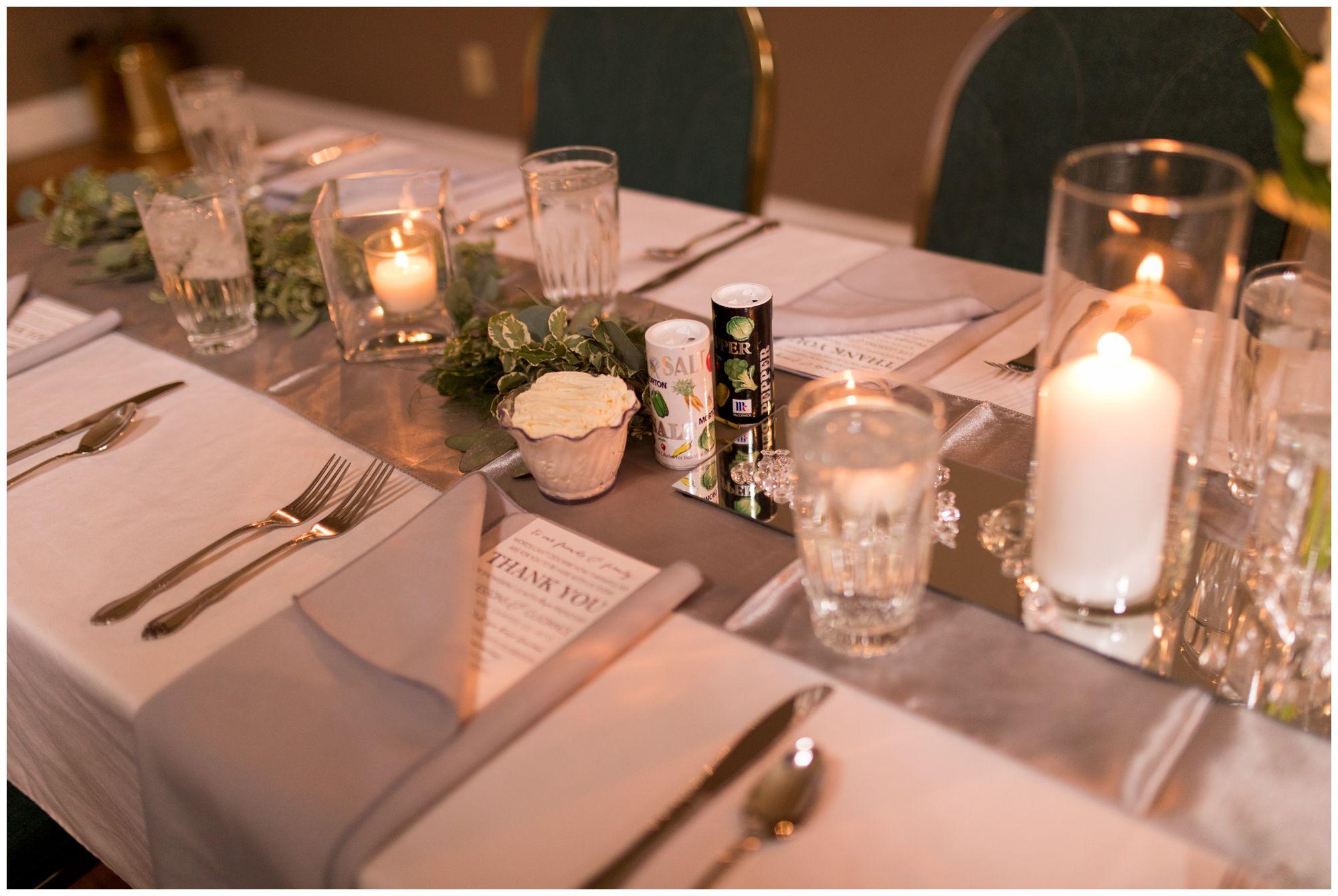 wedding reception decor at Portland Golf Club in Portland Indiana