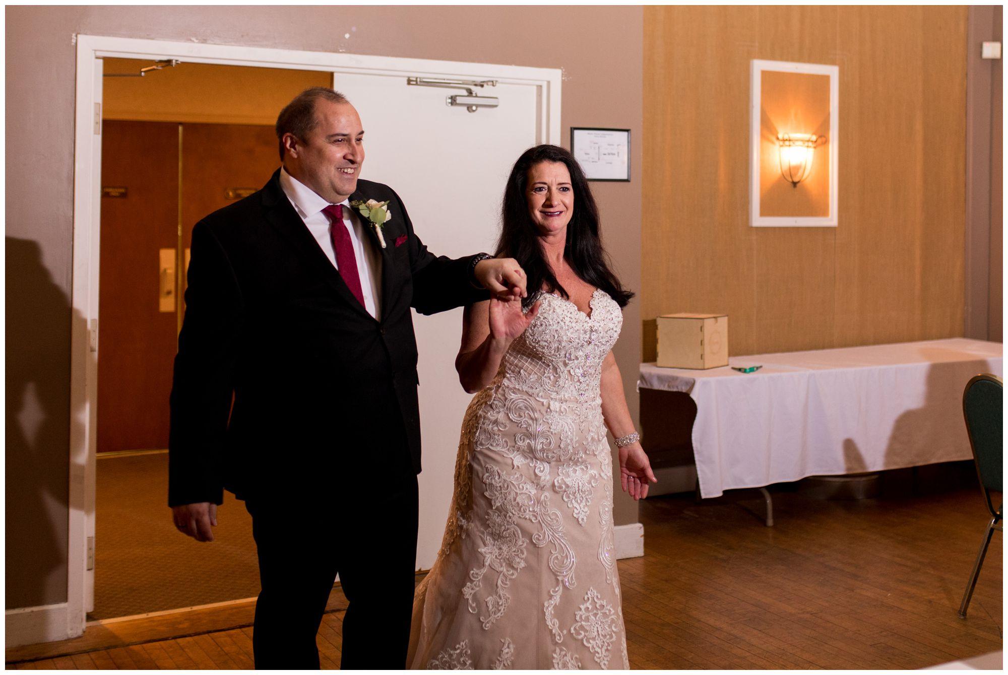 bride and groom grand entrance at Portland Golf Club in Portland Indiana