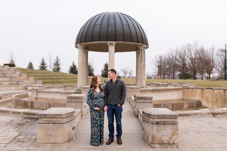 winter maternity session at Coxhall Gardens in Carmel Indiana