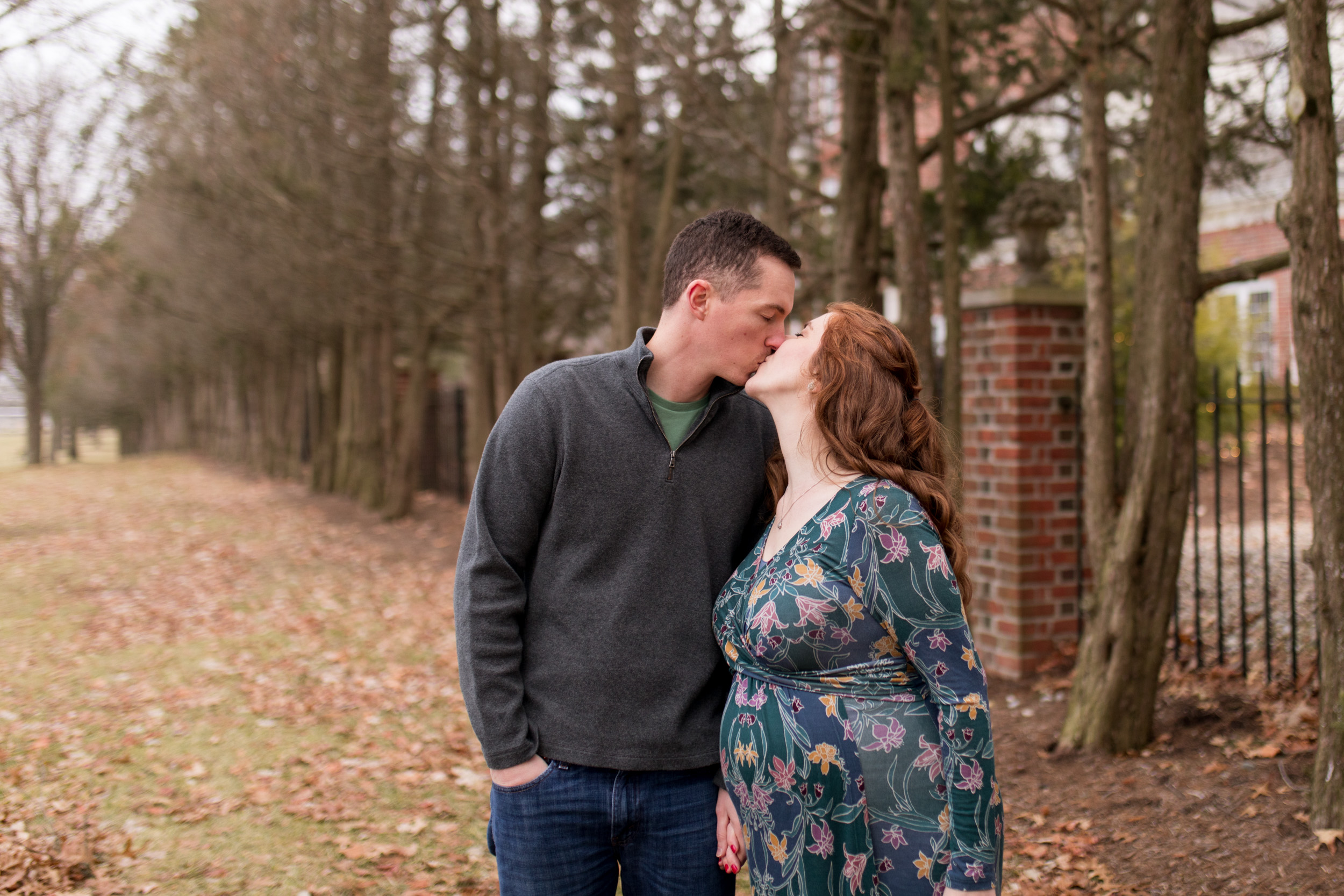 winter maternity session at Coxhall Gardens in Carmel