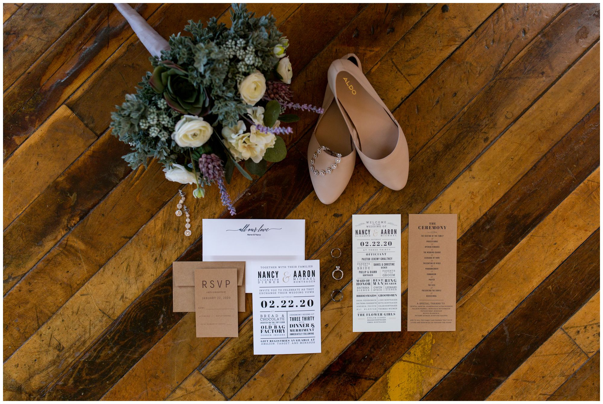bridal details on wood floor at Bread and Chocolate in Goshen Indiana