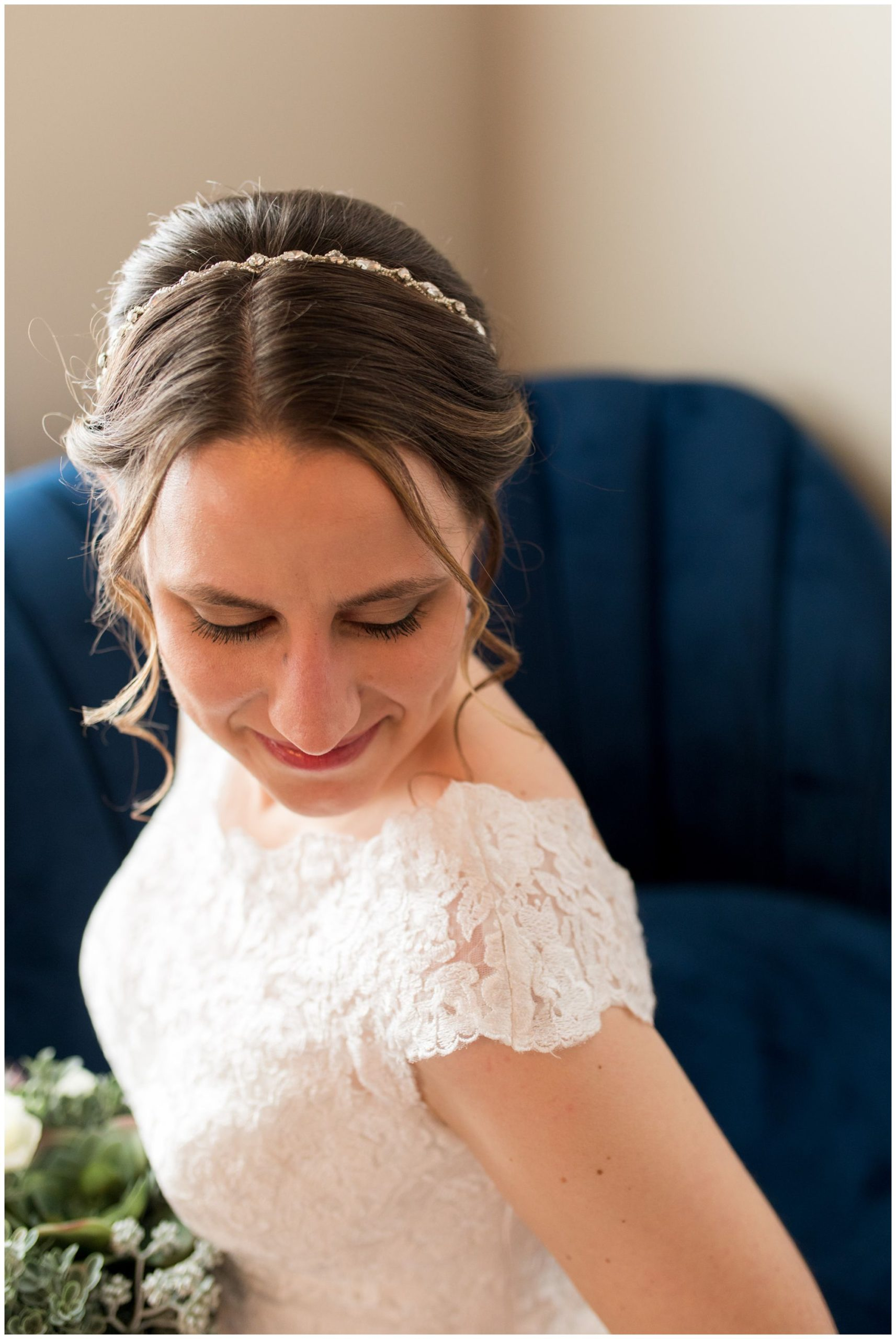 bride wedding portraits at Bread & Chocolate in Goshen Indiana